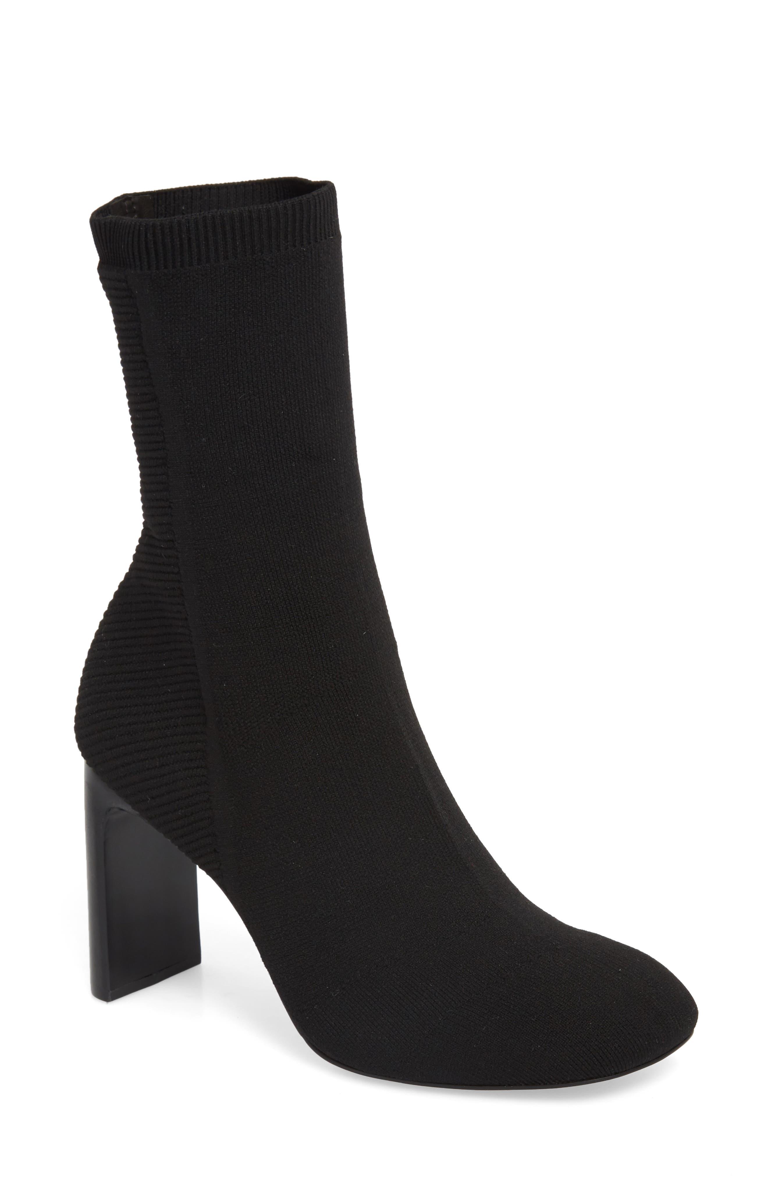 Ellis Sock Knit Boot,                             Main thumbnail 1, color,                             Black