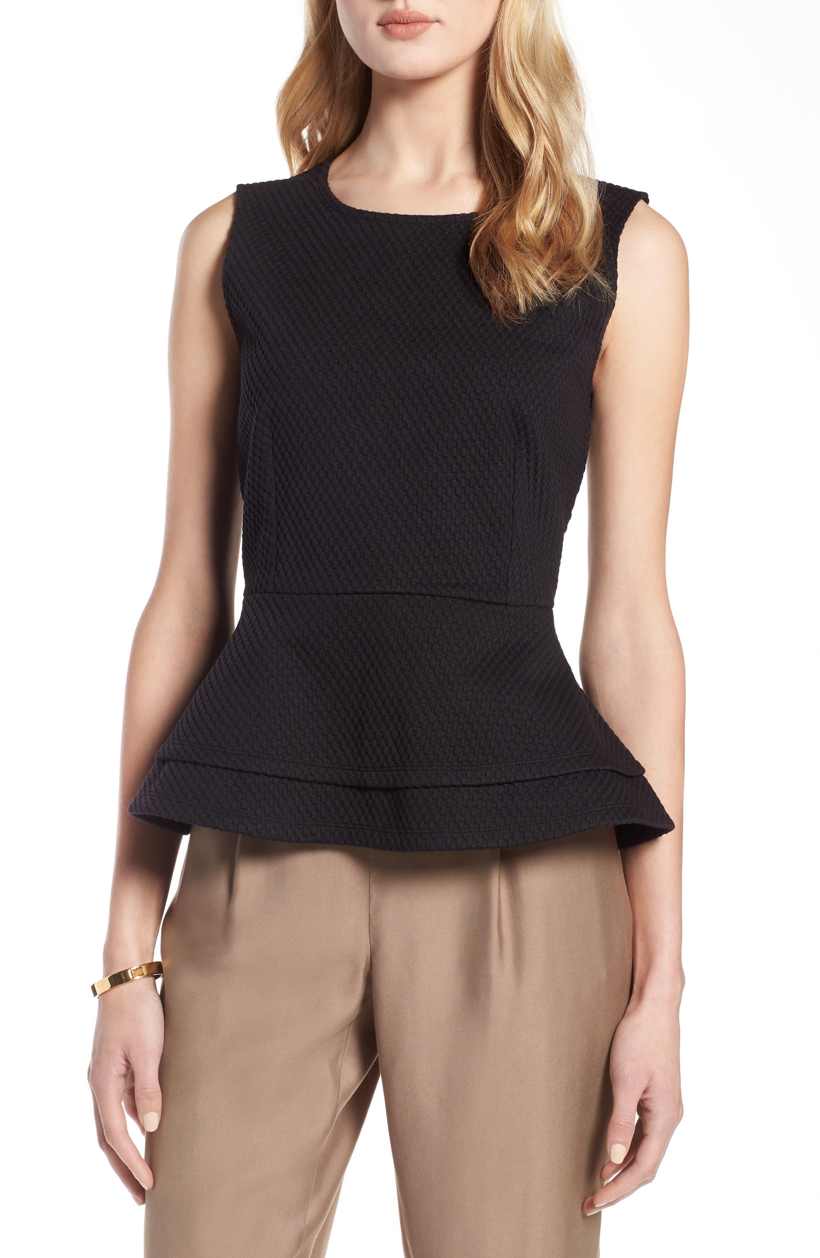 Textured Sleeveless Peplum Blouse HALOGEN®$69 (Nordstrom)