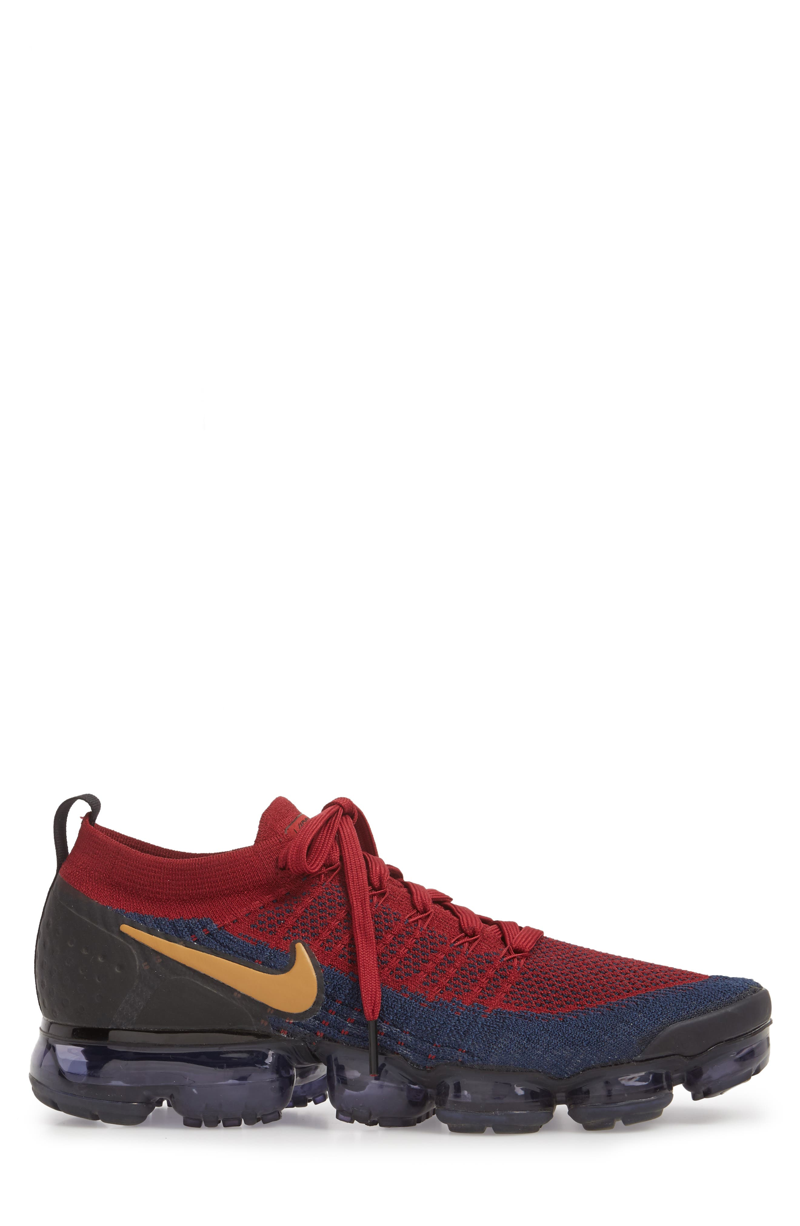 Air Vapormax Flyknit 2 Running Shoe,                             Alternate thumbnail 3, color,                             Team Red/ Wheat/ Obsidian