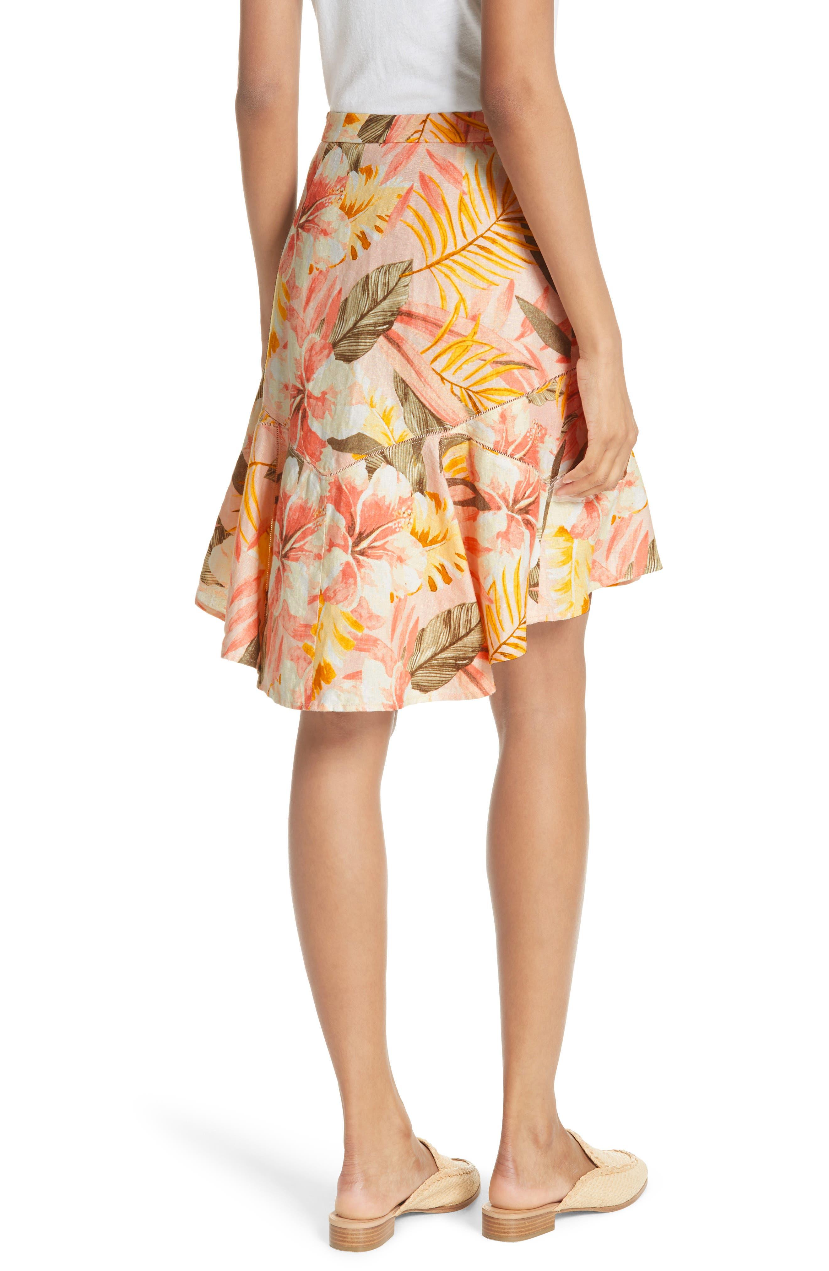 Radhiya Linen Floral Ruffle Skirt,                             Alternate thumbnail 2, color,                             Dusty Nude