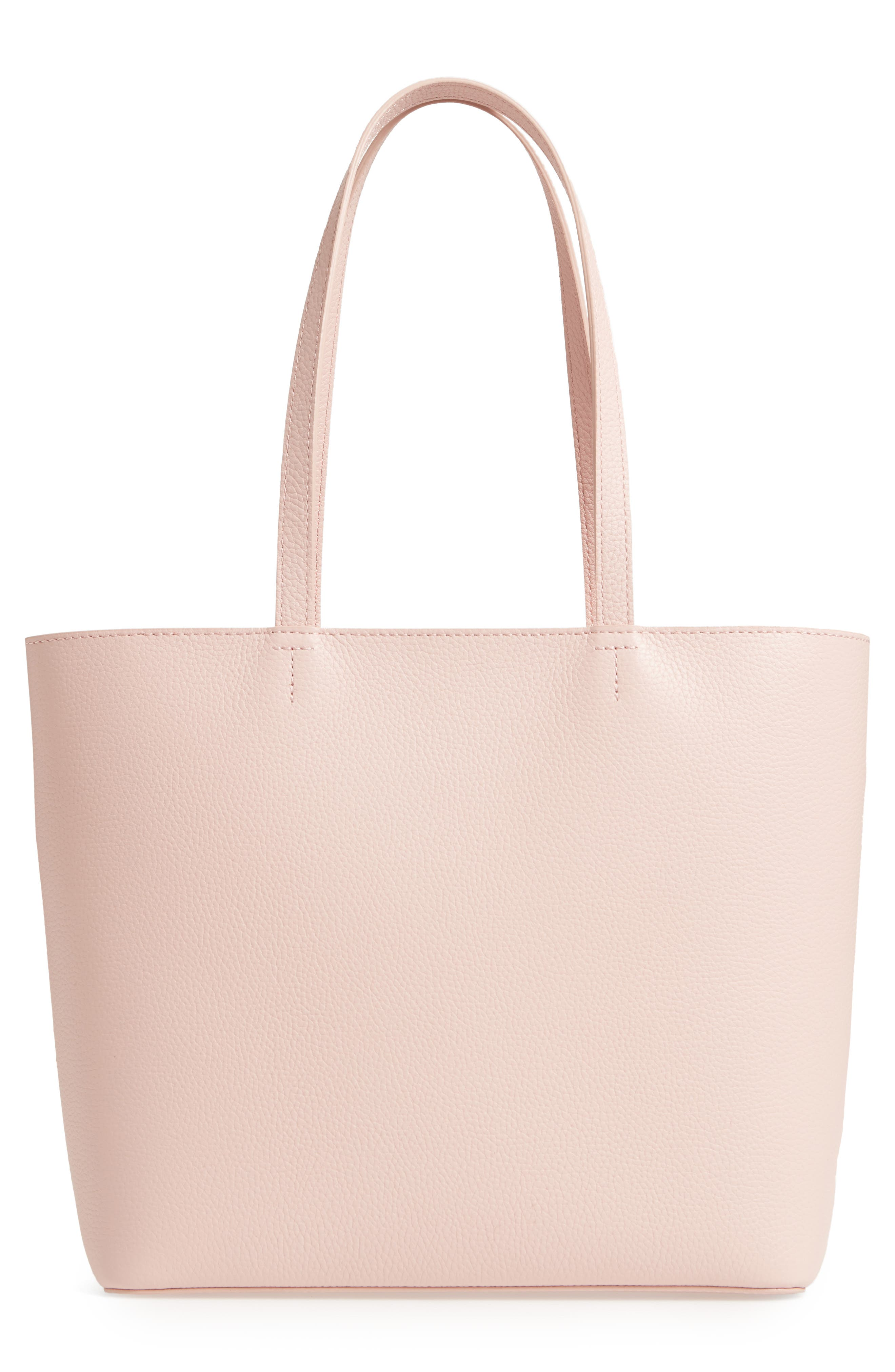 Giant Knot Leather Shopper,                             Alternate thumbnail 3, color,                             Nude Pink