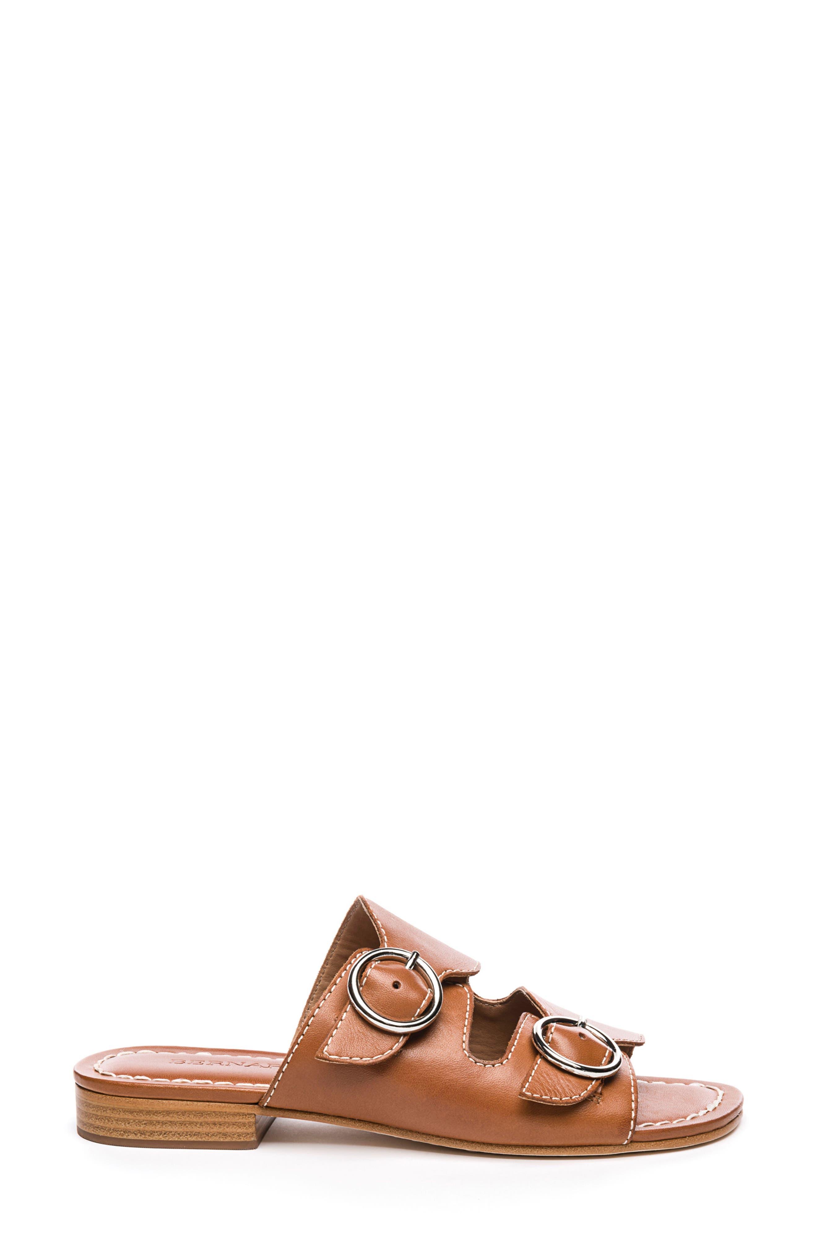 Bernardo Tobi Slide Sandal,                             Alternate thumbnail 3, color,                             Luggage Leather