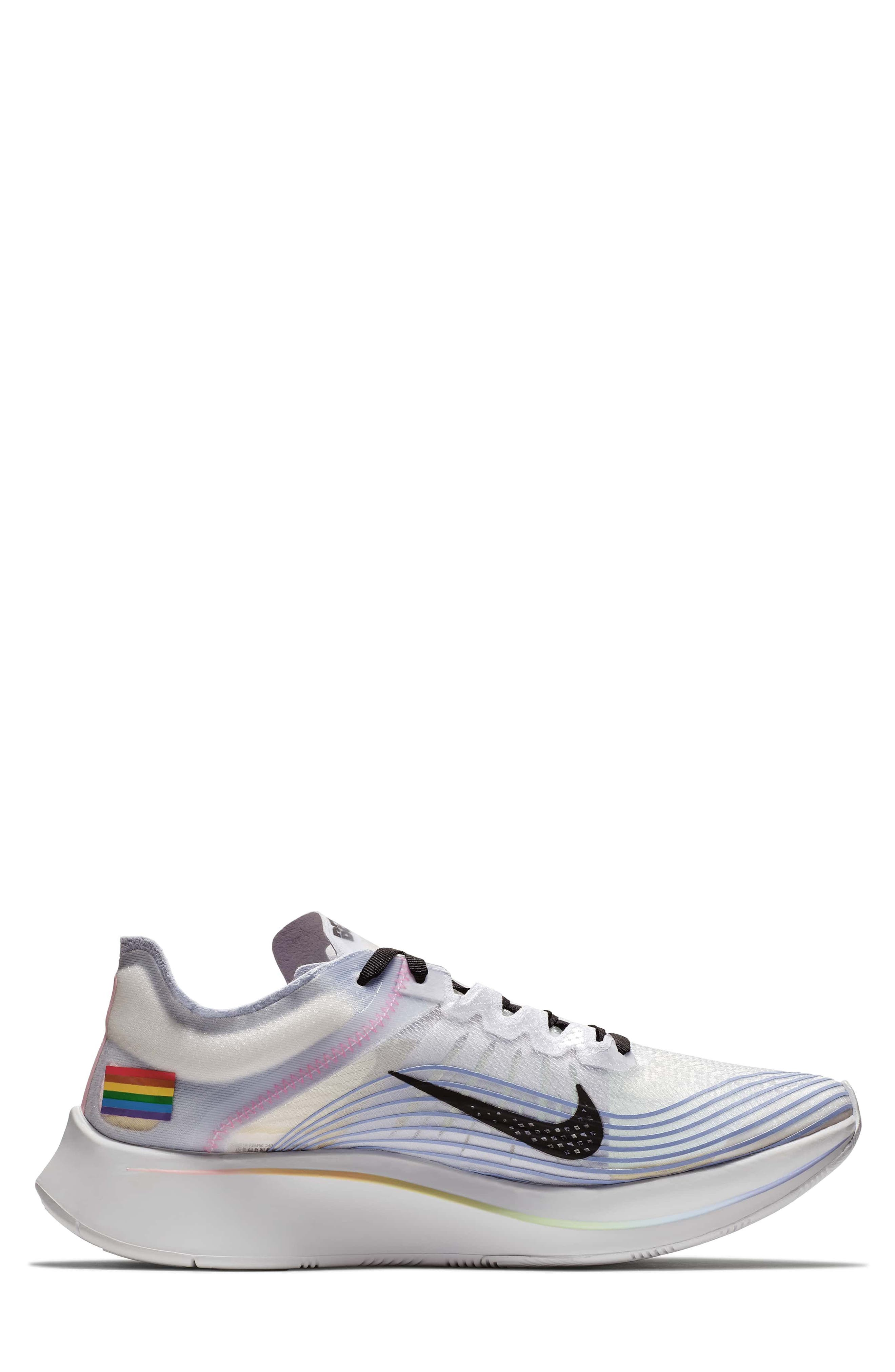 Nordstrom x Nike Zoom Fly BETRUE Running Shoe,                             Alternate thumbnail 4, color,                             White/ Black/ Palest Purple