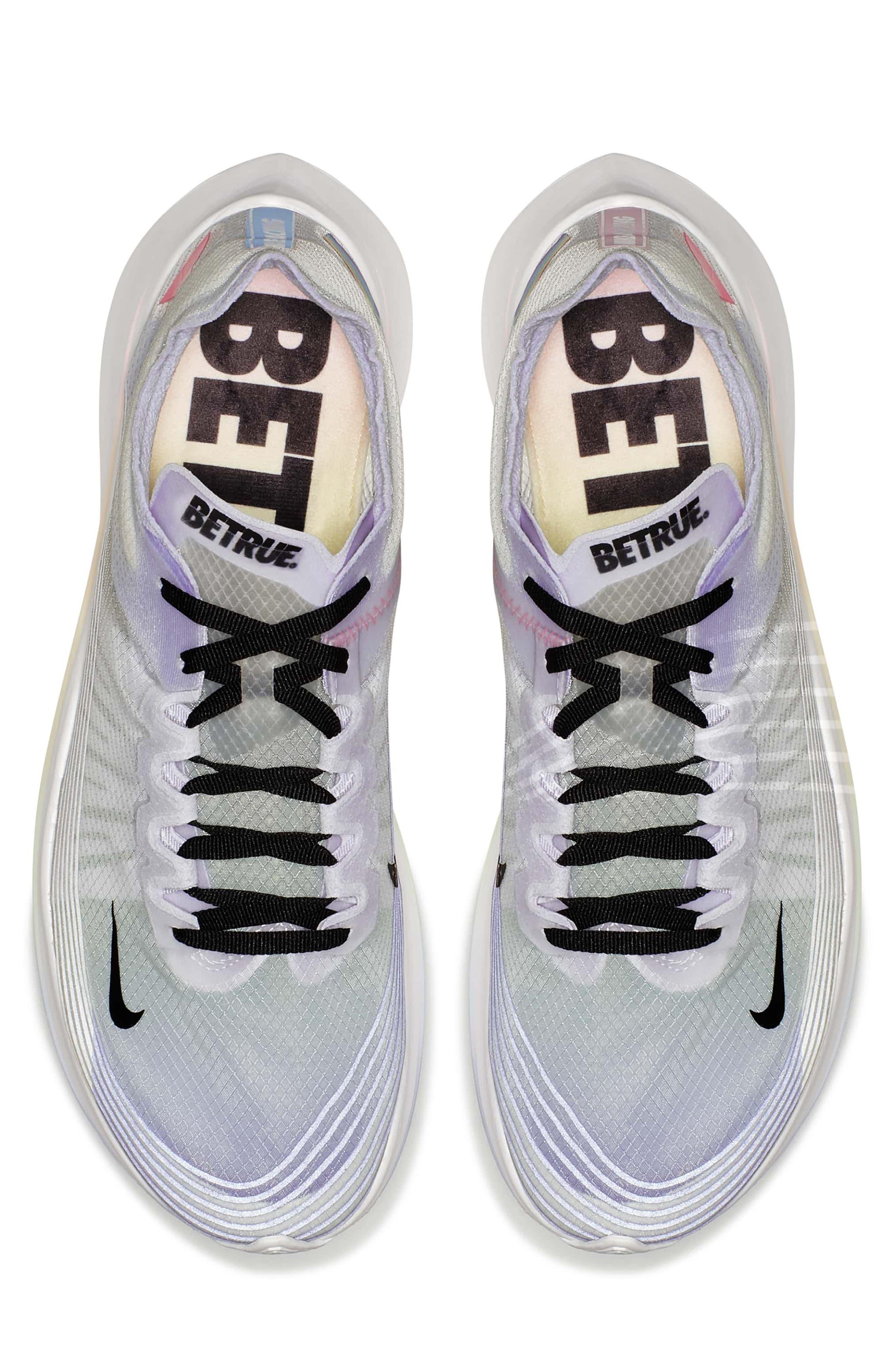 Nordstrom x Nike Zoom Fly BETRUE Running Shoe,                             Alternate thumbnail 5, color,                             White/ Black/ Palest Purple