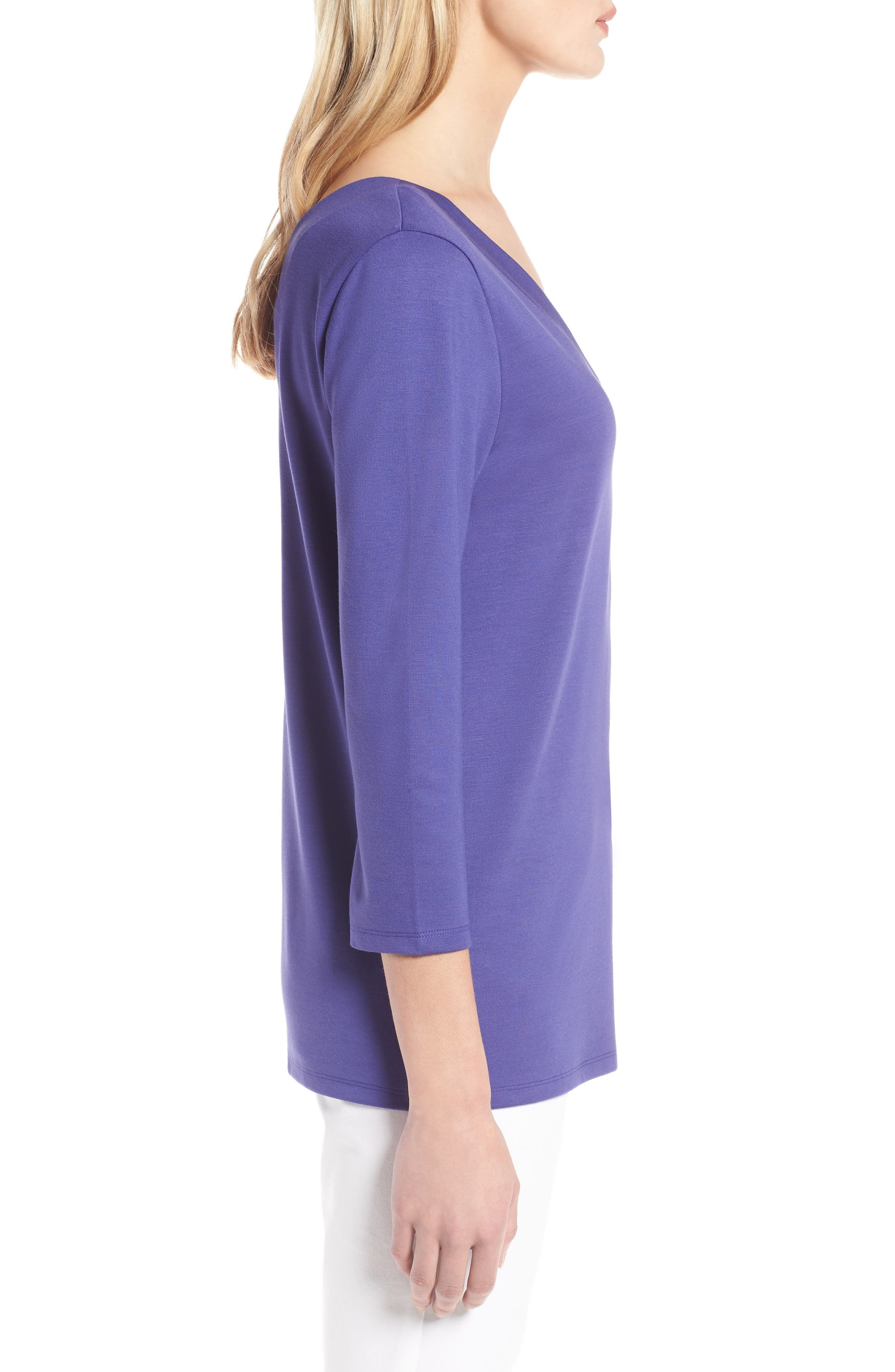 V-Neck Tee,                             Alternate thumbnail 3, color,                             Purple Orient