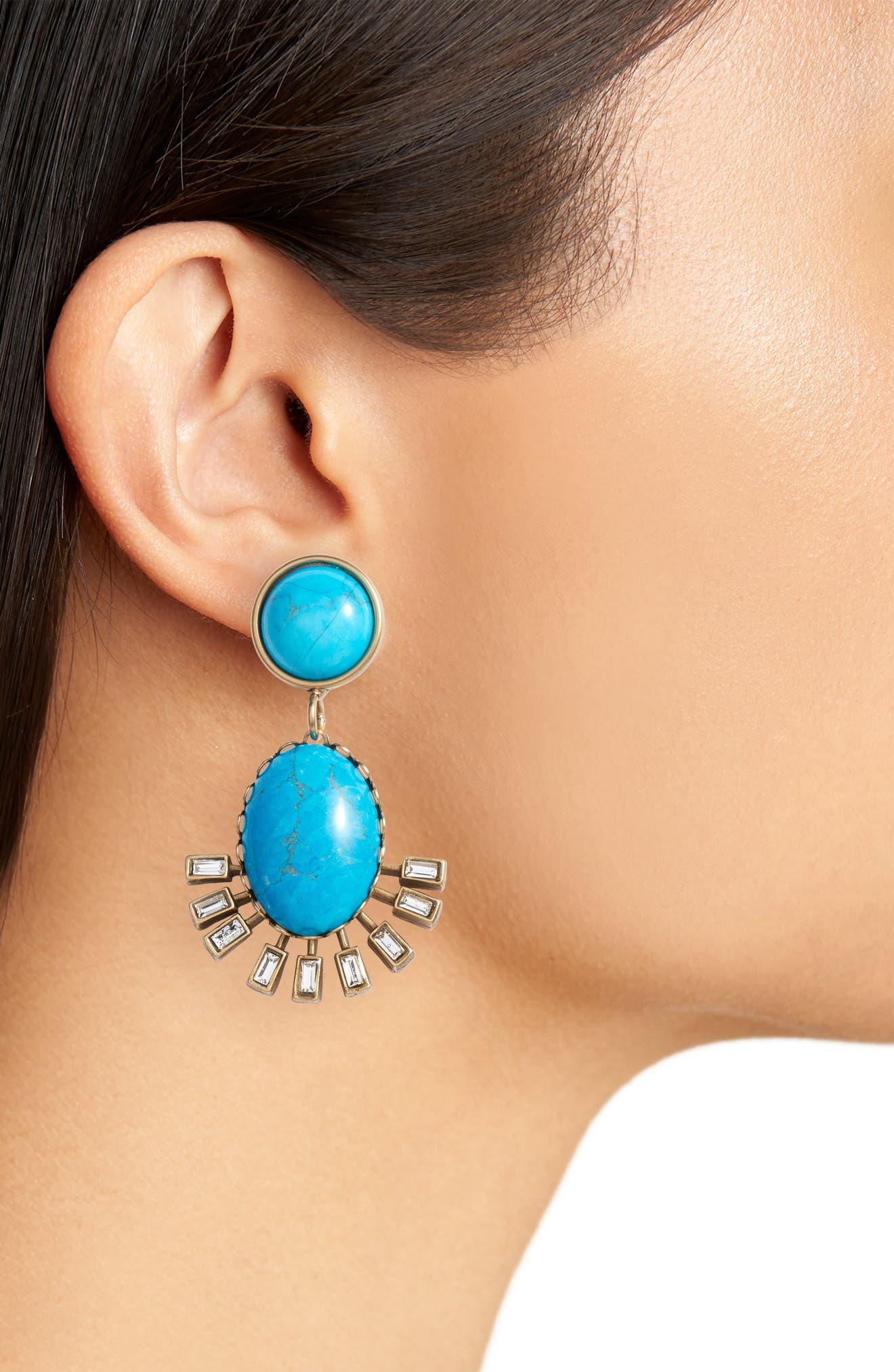 Howlite Earrings,                             Alternate thumbnail 2, color,                             Turquoise