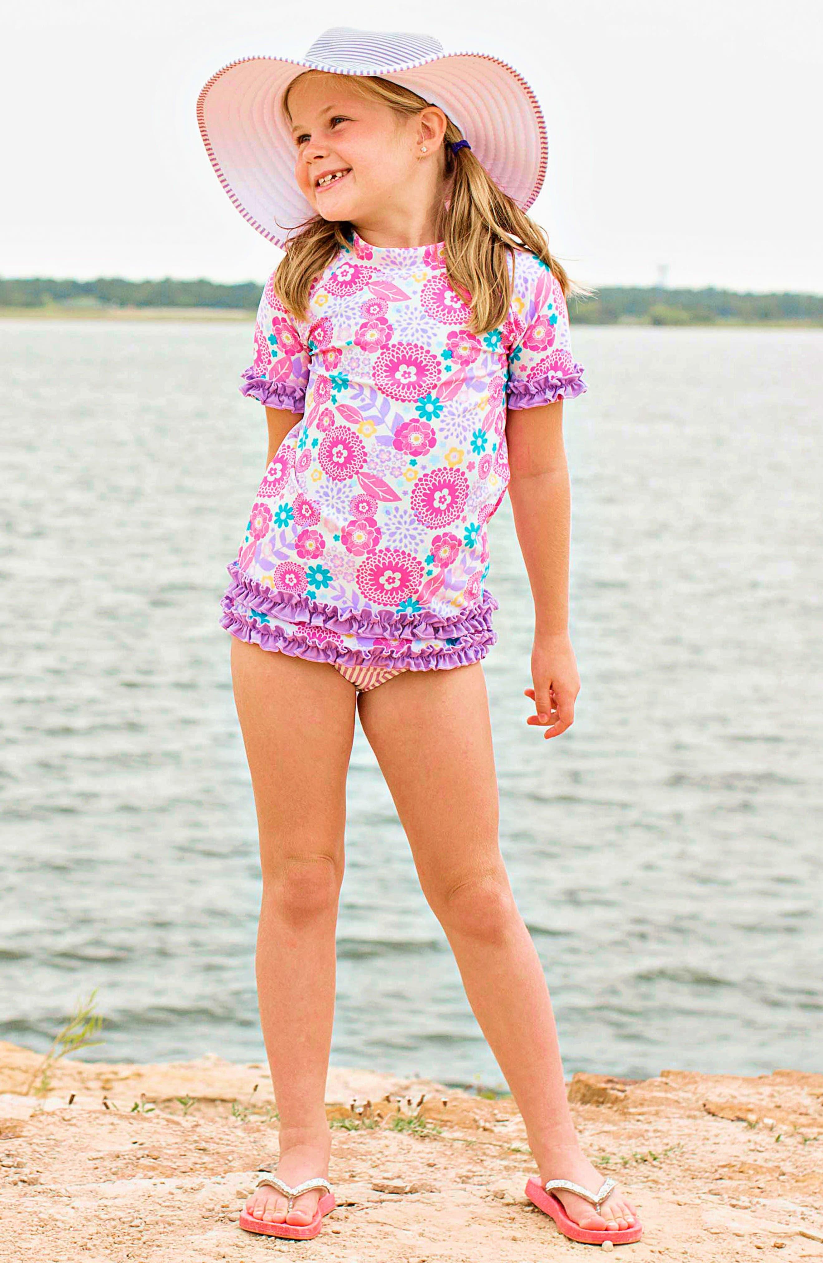 Blooming Buttercup Two-Piece Rashguard Swimsuit & Hat Set,                             Alternate thumbnail 3, color,                             Purple