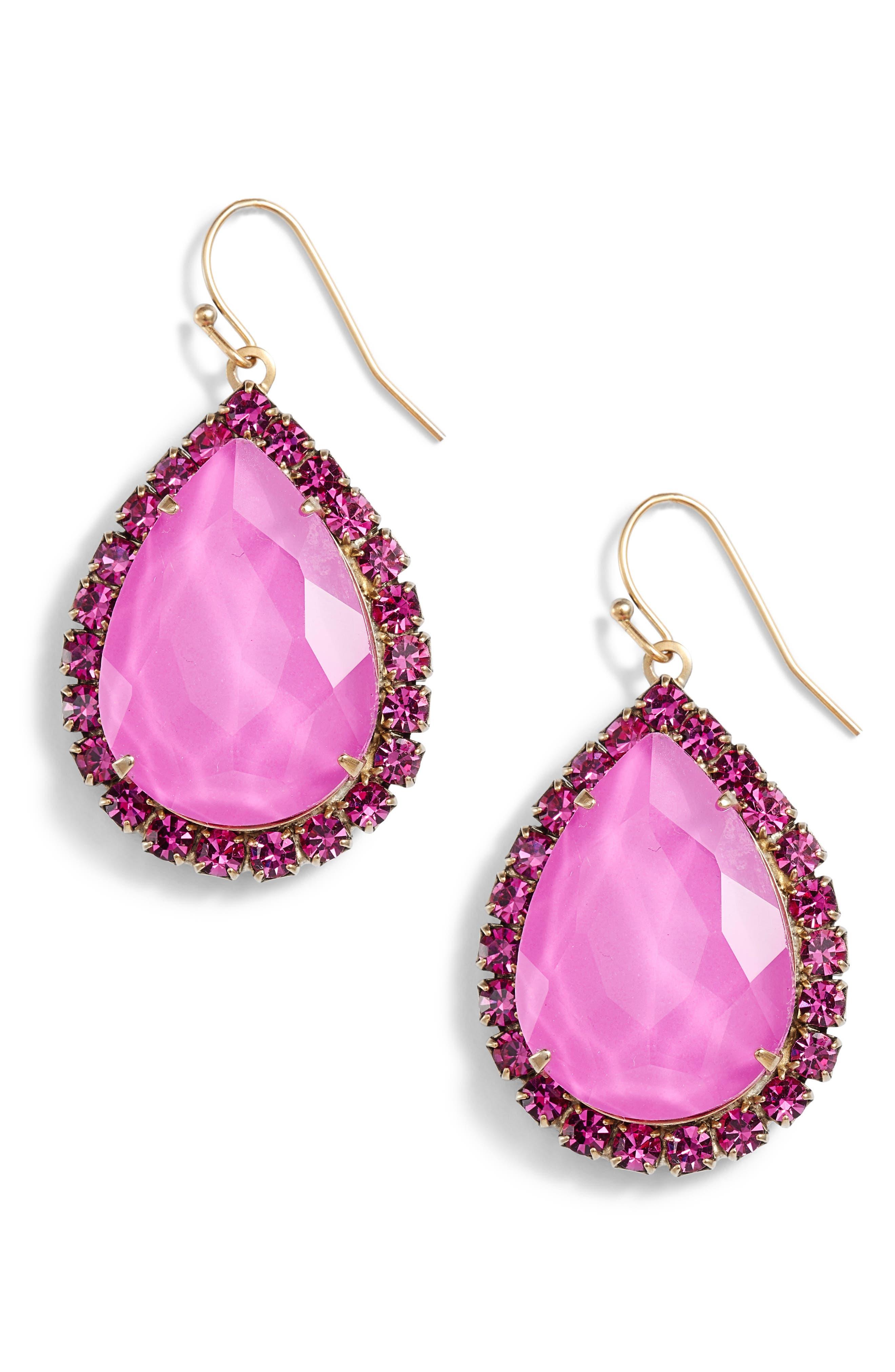 Krista Crystal Drop Earrings,                         Main,                         color, Violet