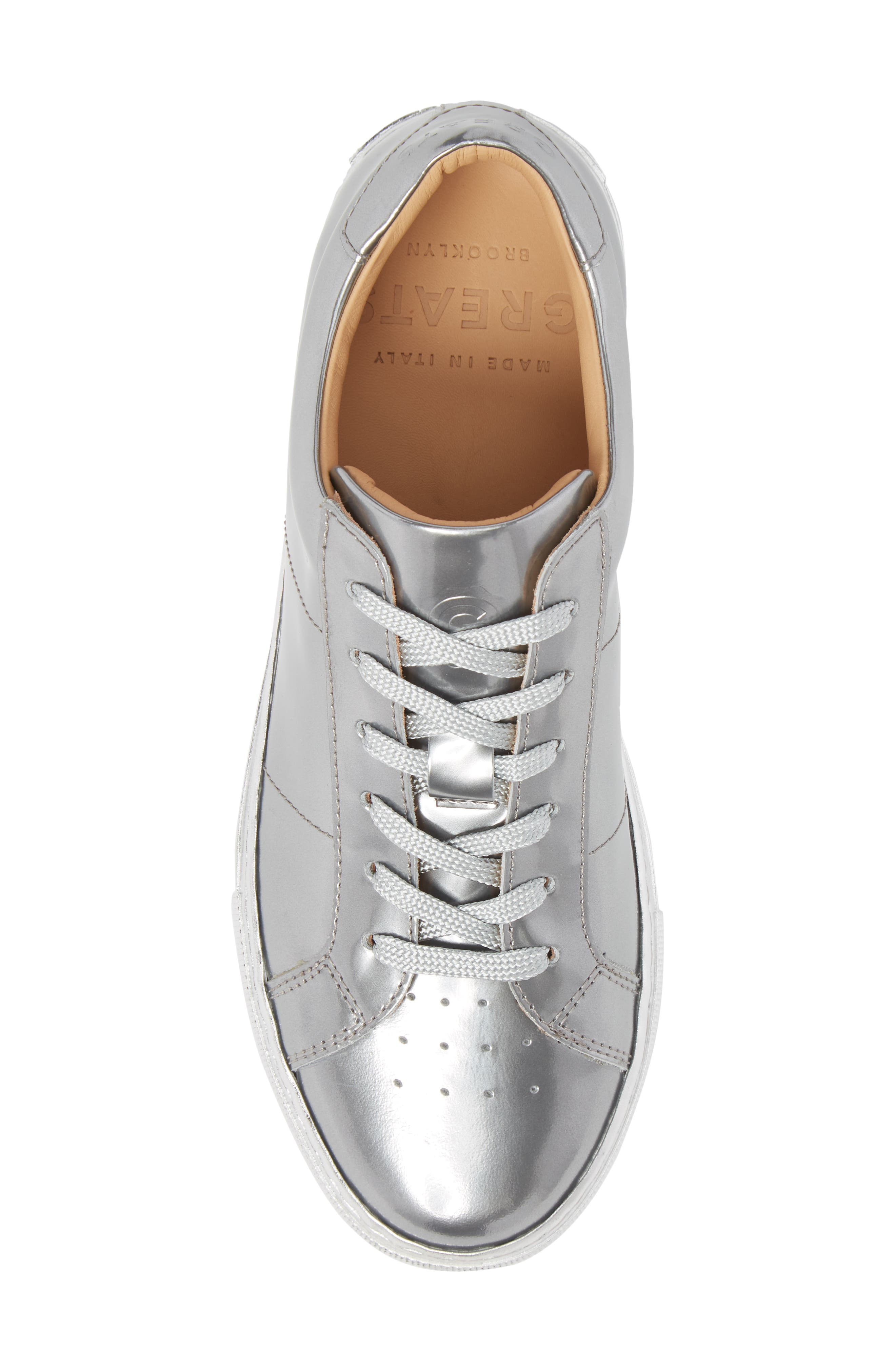 Royale Low Top Sneaker,                             Alternate thumbnail 5, color,                             Silver Tonal/ Flat Leather