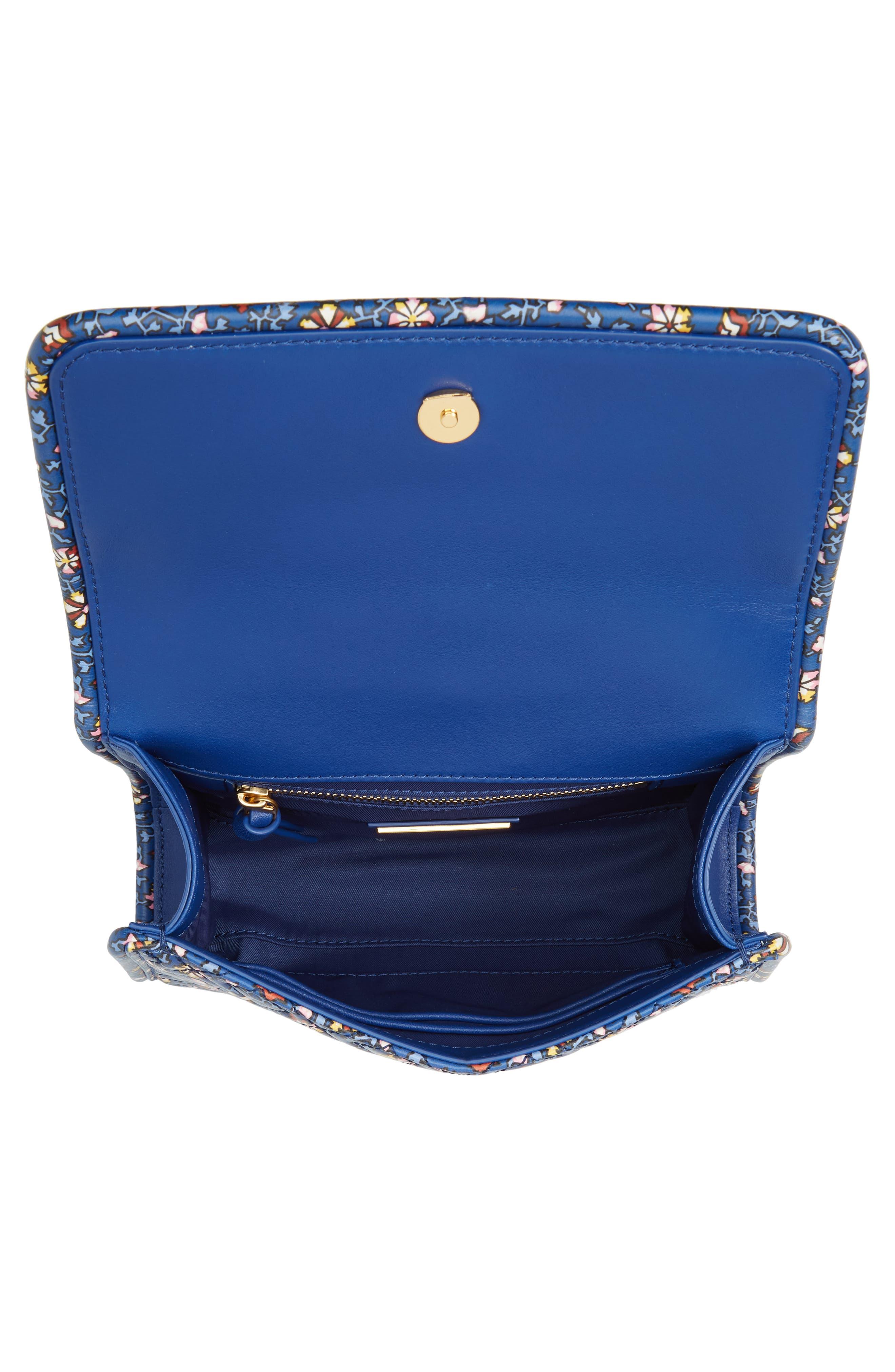 Fleming Print Leather Convertible Shoulder Bag,                             Alternate thumbnail 4, color,                             Blue Wild Pansy
