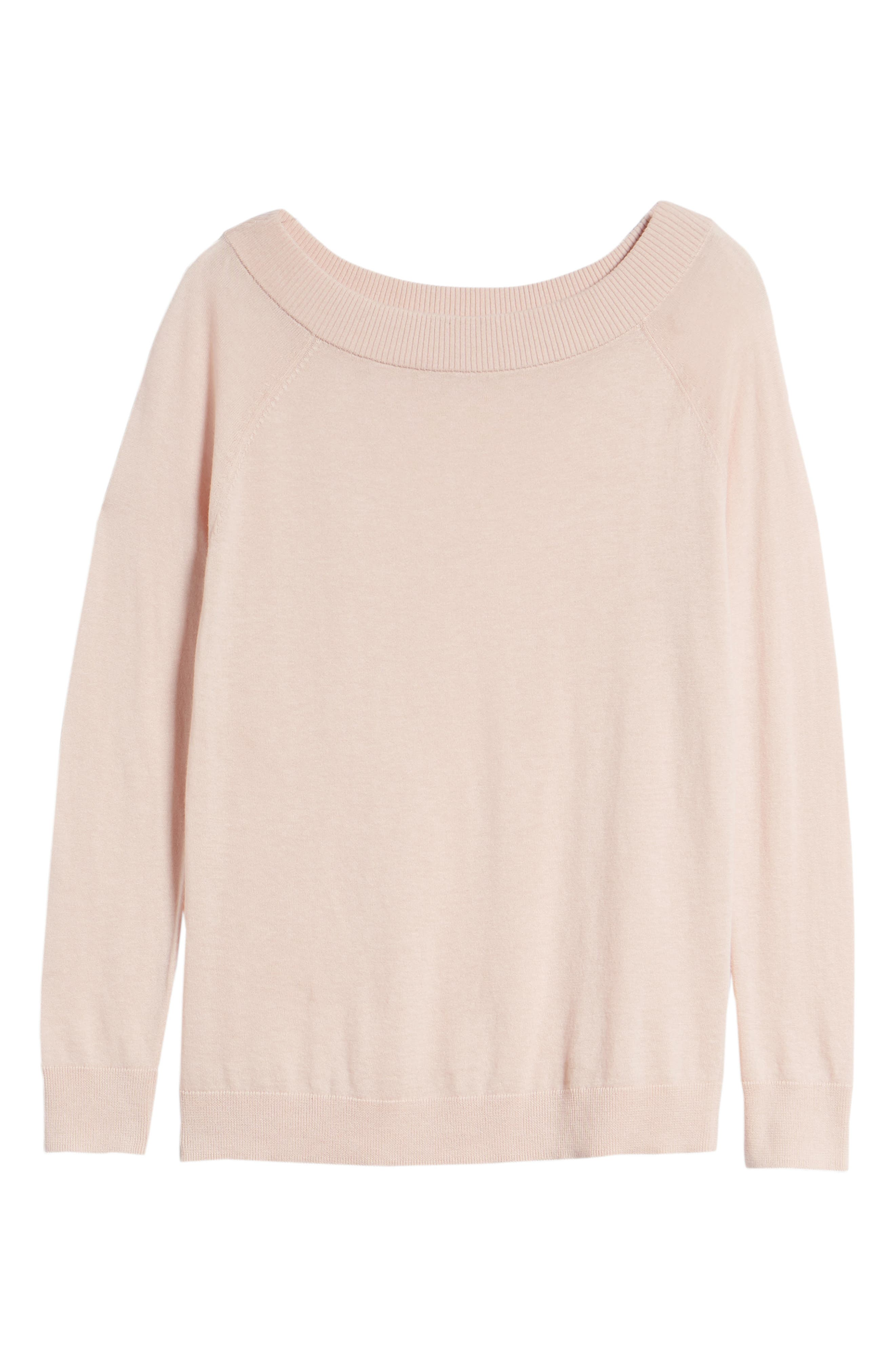 Convertible Bateau Neck Sweater,                             Alternate thumbnail 6, color,                             Pink Peach