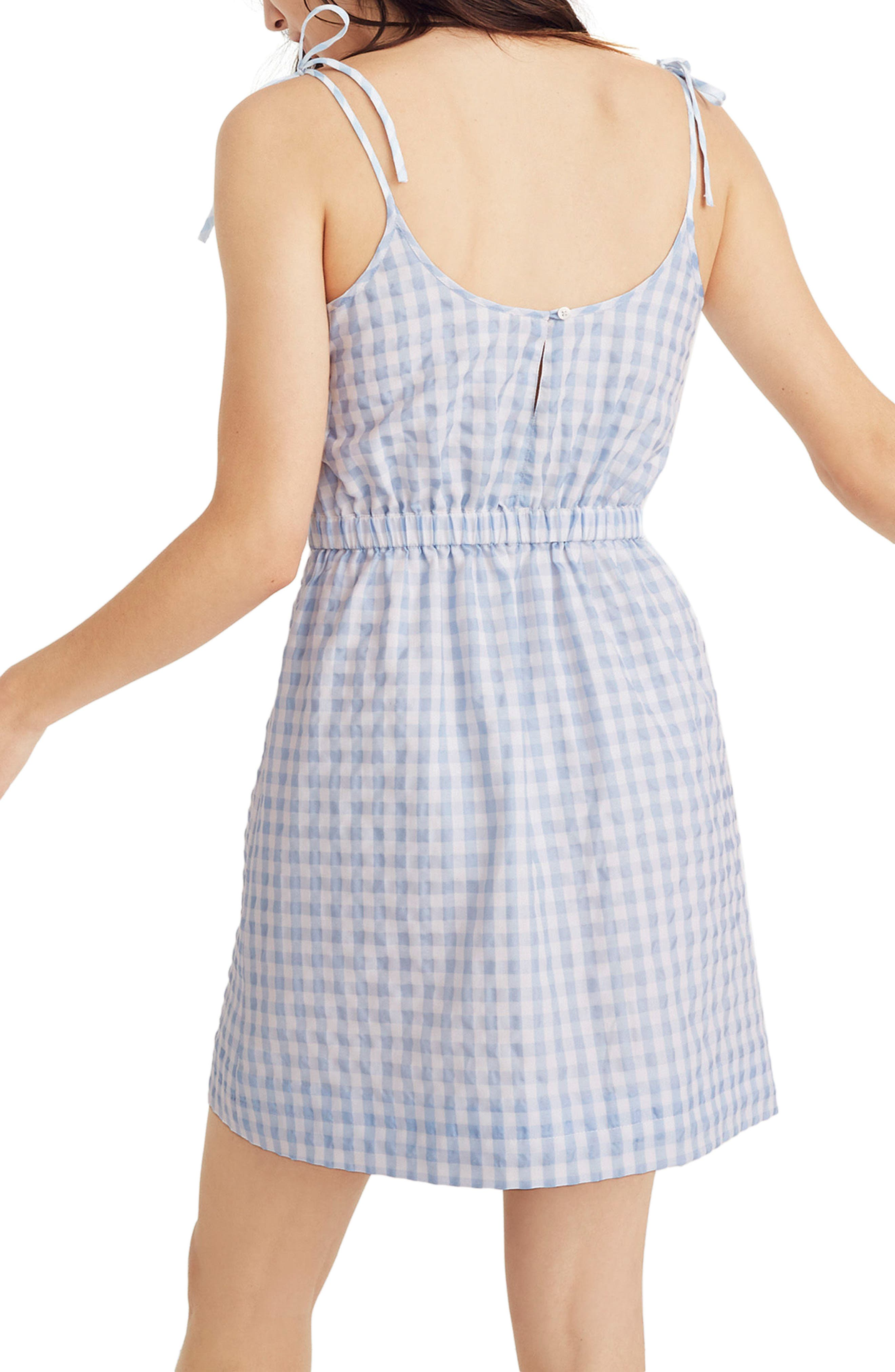 Tie Strap Gingham Dress,                             Alternate thumbnail 2, color,                             Glacier Blue