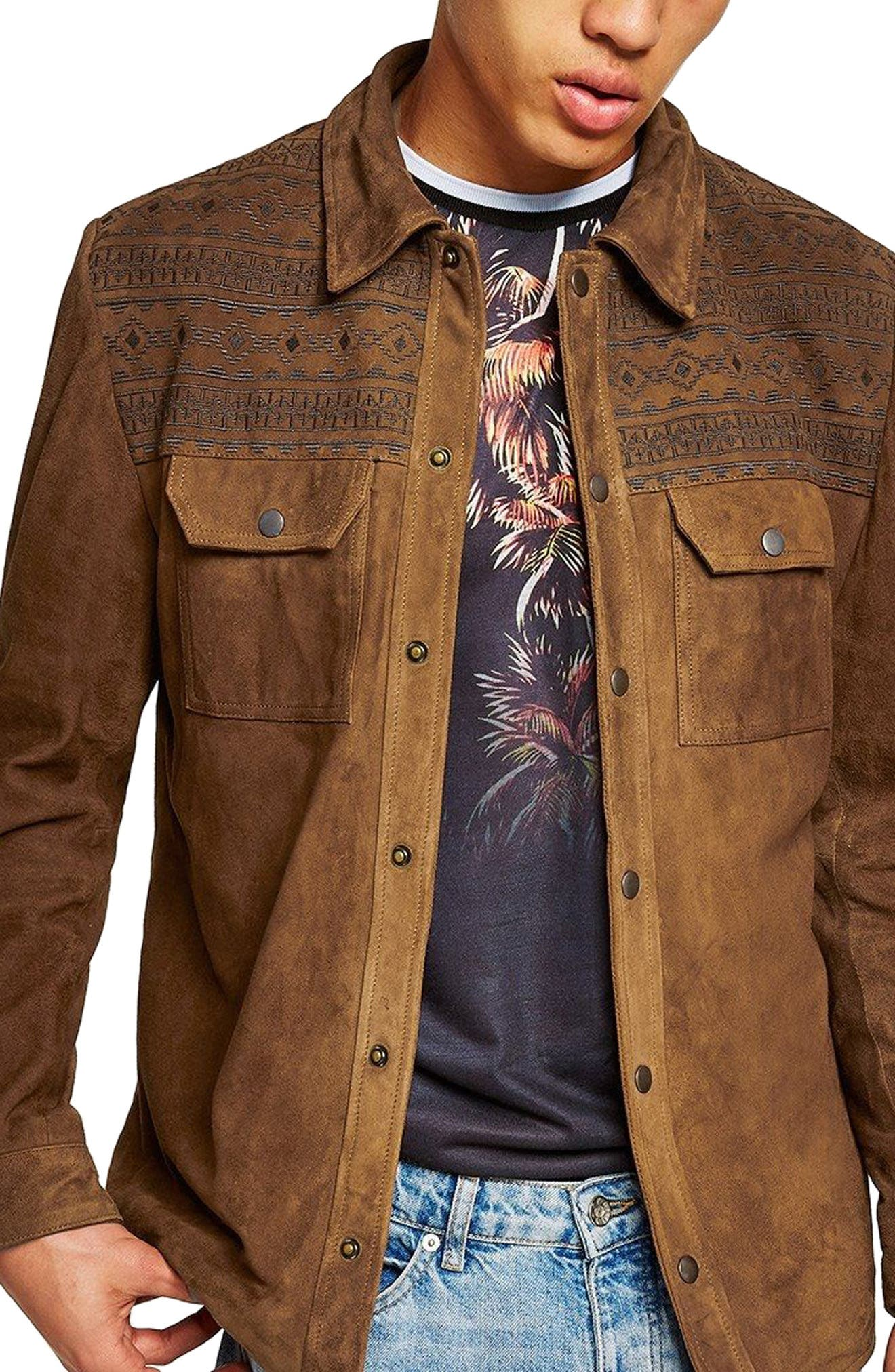 Embroidered Suede Jacket,                         Main,                         color, Brown Multi