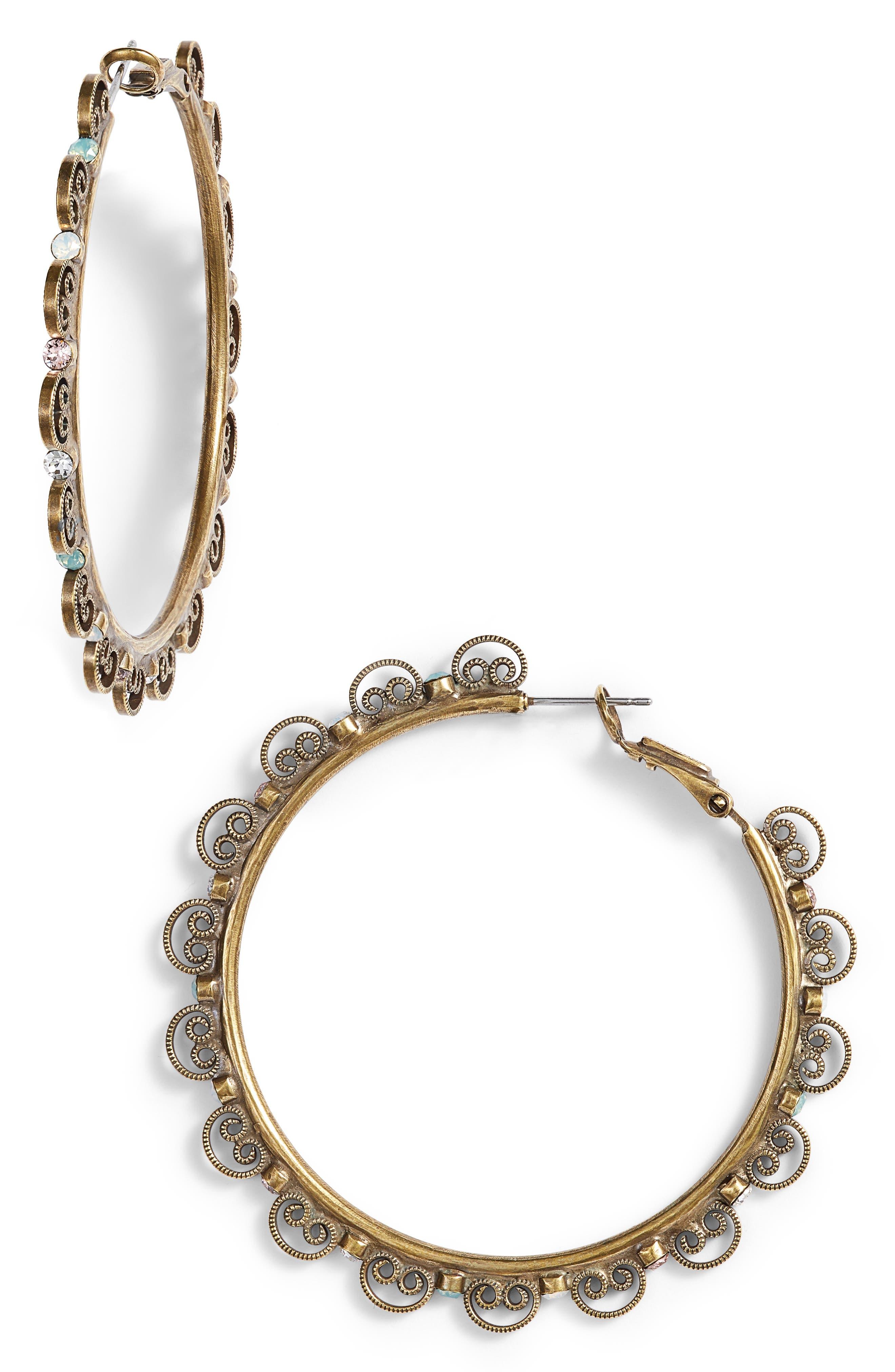 Foxglove Crystal Hoop Earrings,                             Main thumbnail 1, color,                             Gold