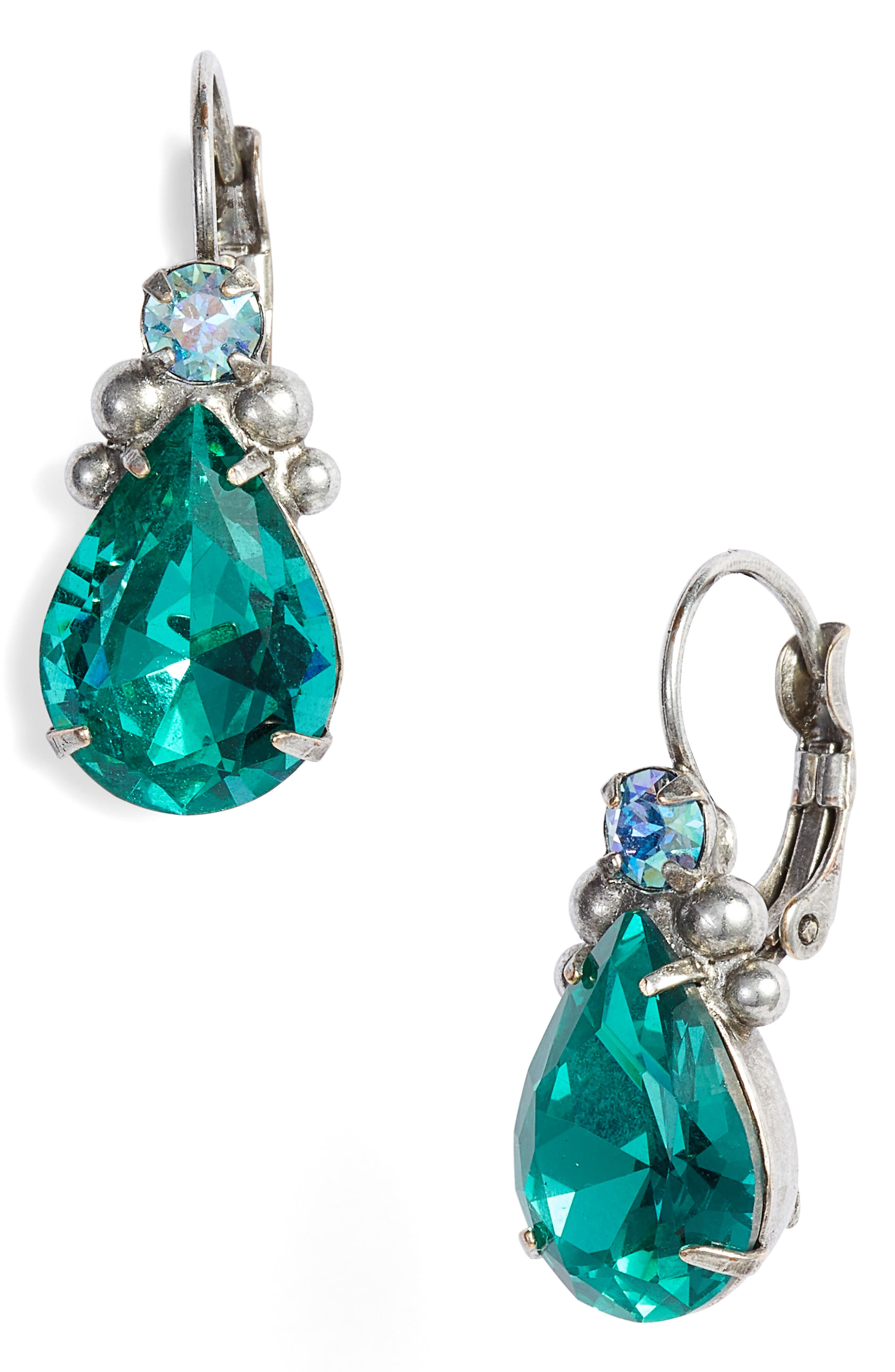 Embellished Pear Crystal Drop Earrings,                         Main,                         color, Blue-Green