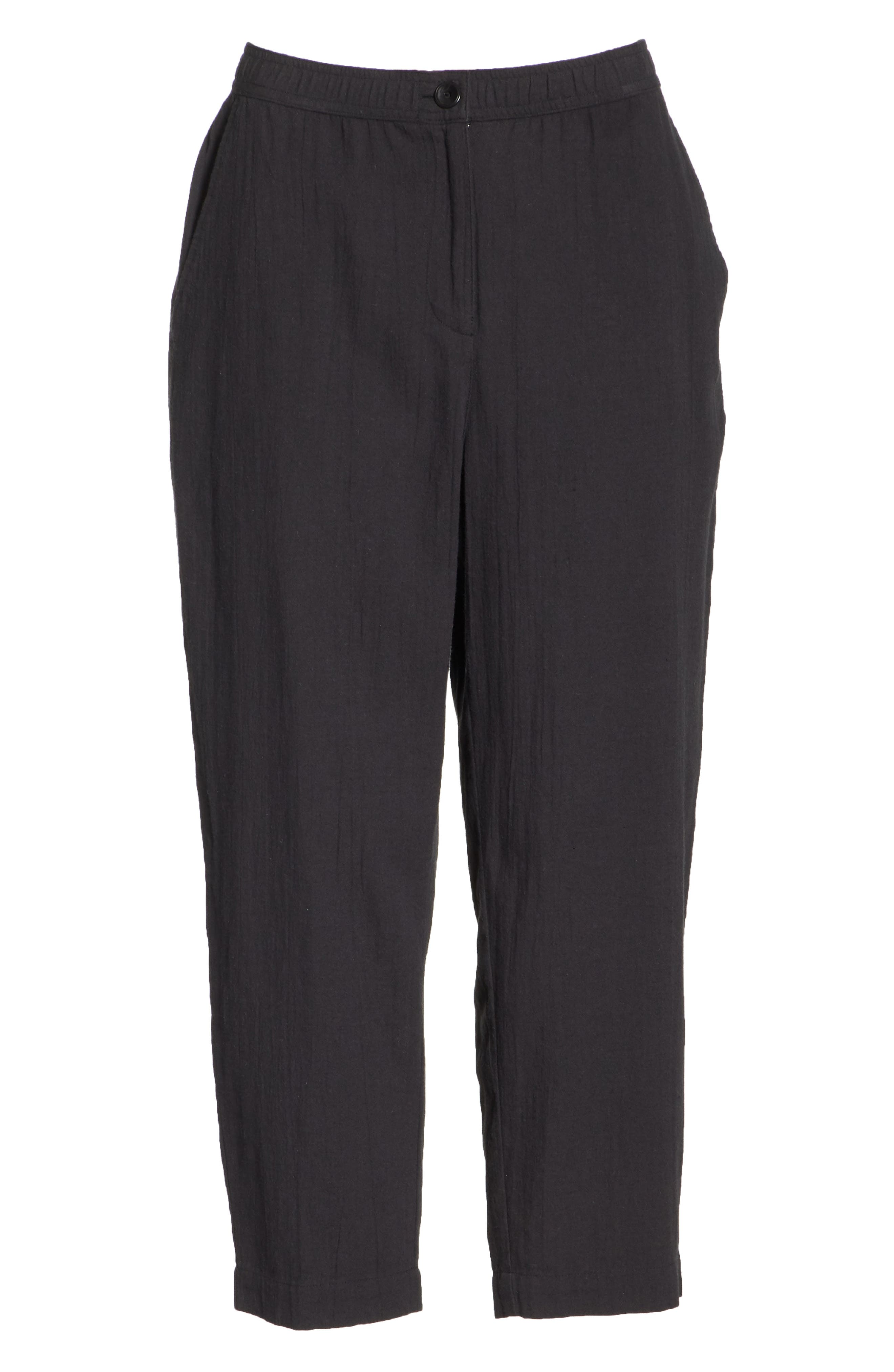 Tapered Cropped Pants,                             Alternate thumbnail 6, color,                             Black