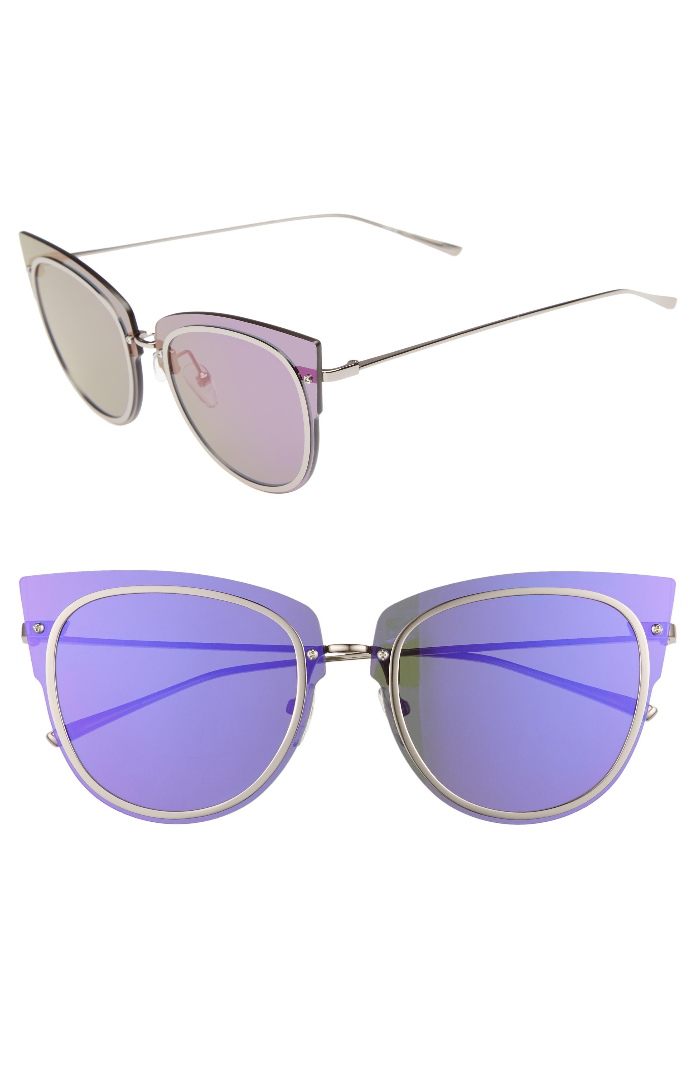x Demi Lovato DEMI 50mm Rimless Cat Eye Sunglasses,                             Main thumbnail 1, color,                             Light Gunmetal/ Purple