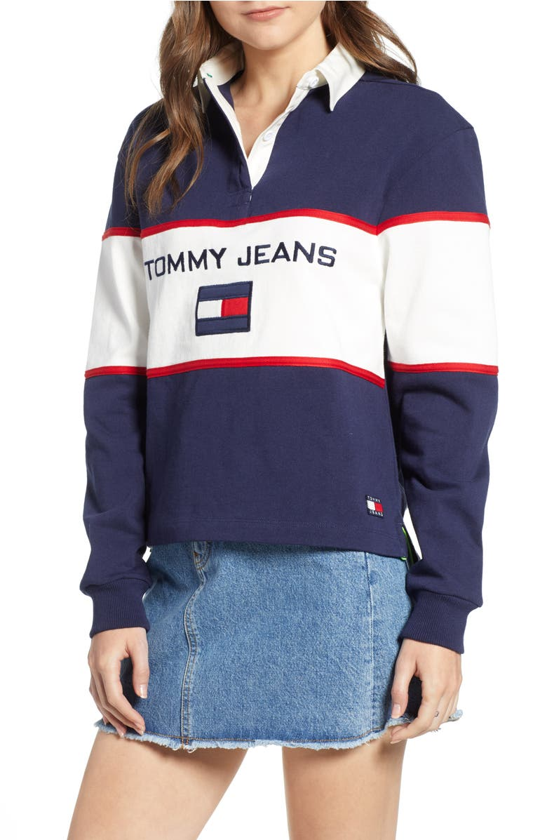 31bbccbb Tommy Jeans '90S Color-Block Rugby Shirt In Blue | ModeSens