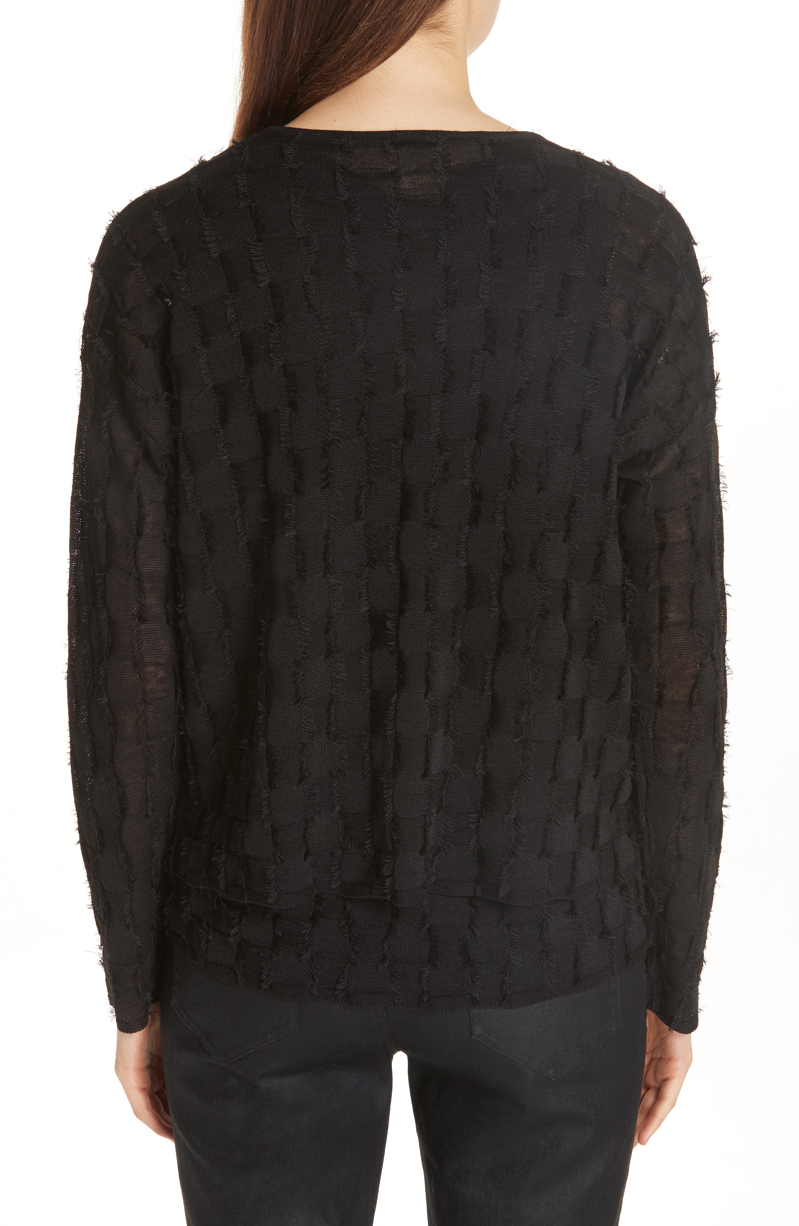Fringe Knit Sweater,                             Alternate thumbnail 2, color,                             Black