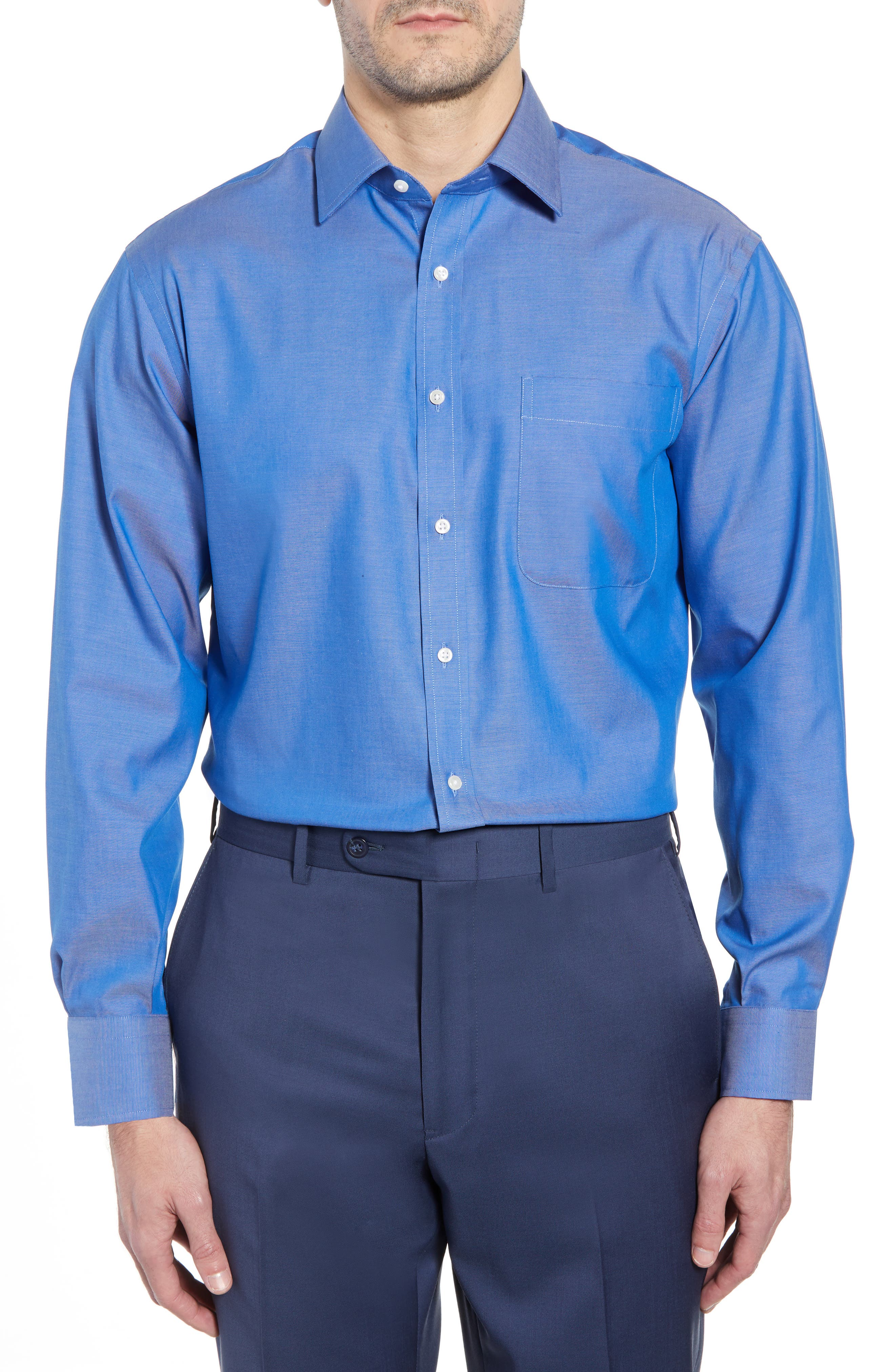 Classic Fit Non-Iron Solid Dress Shirt,                         Main,                         color, Blue French