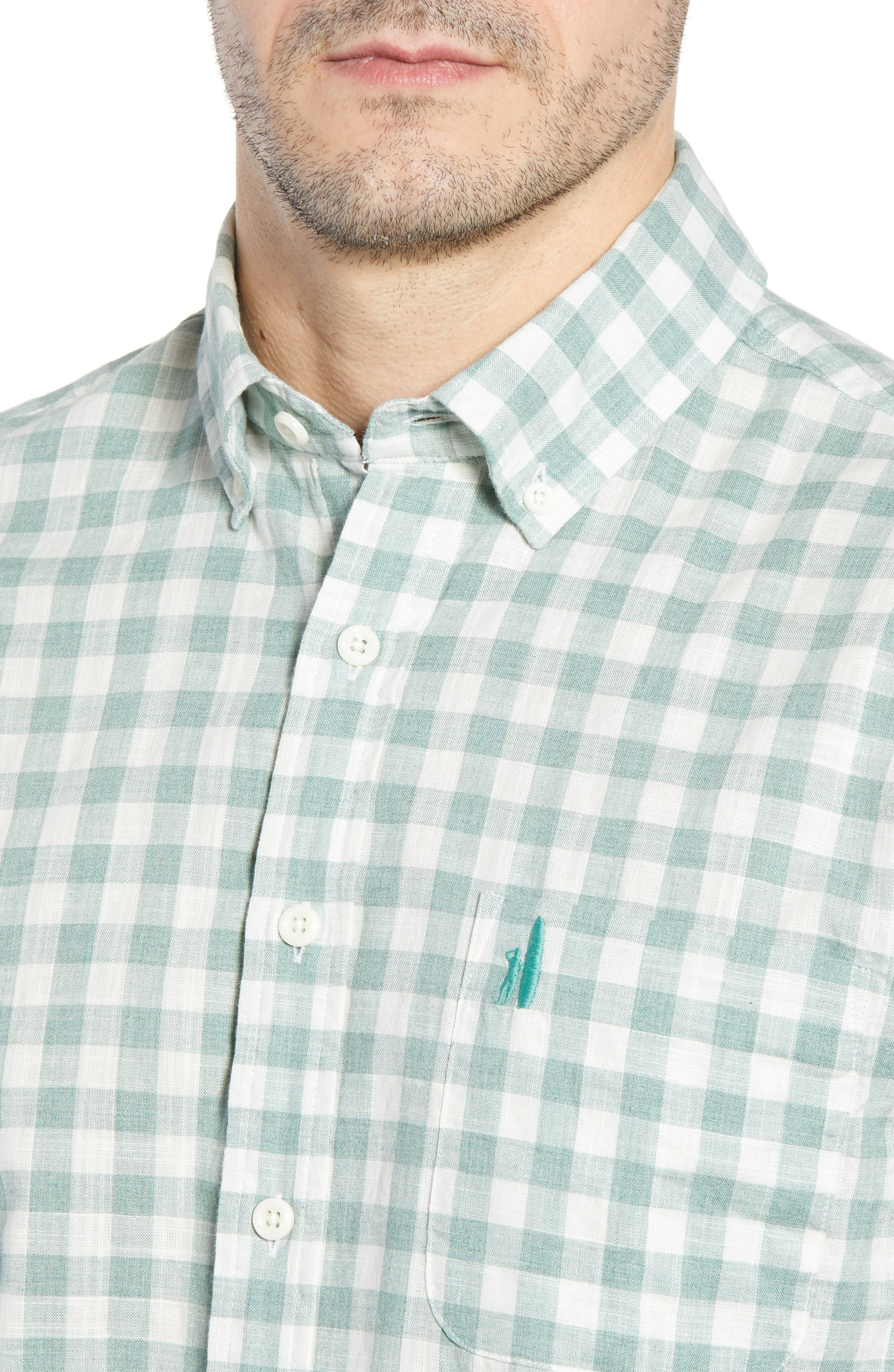 Watts Classic Fit Gingham Sport Shirt,                             Alternate thumbnail 2, color,                             Clover