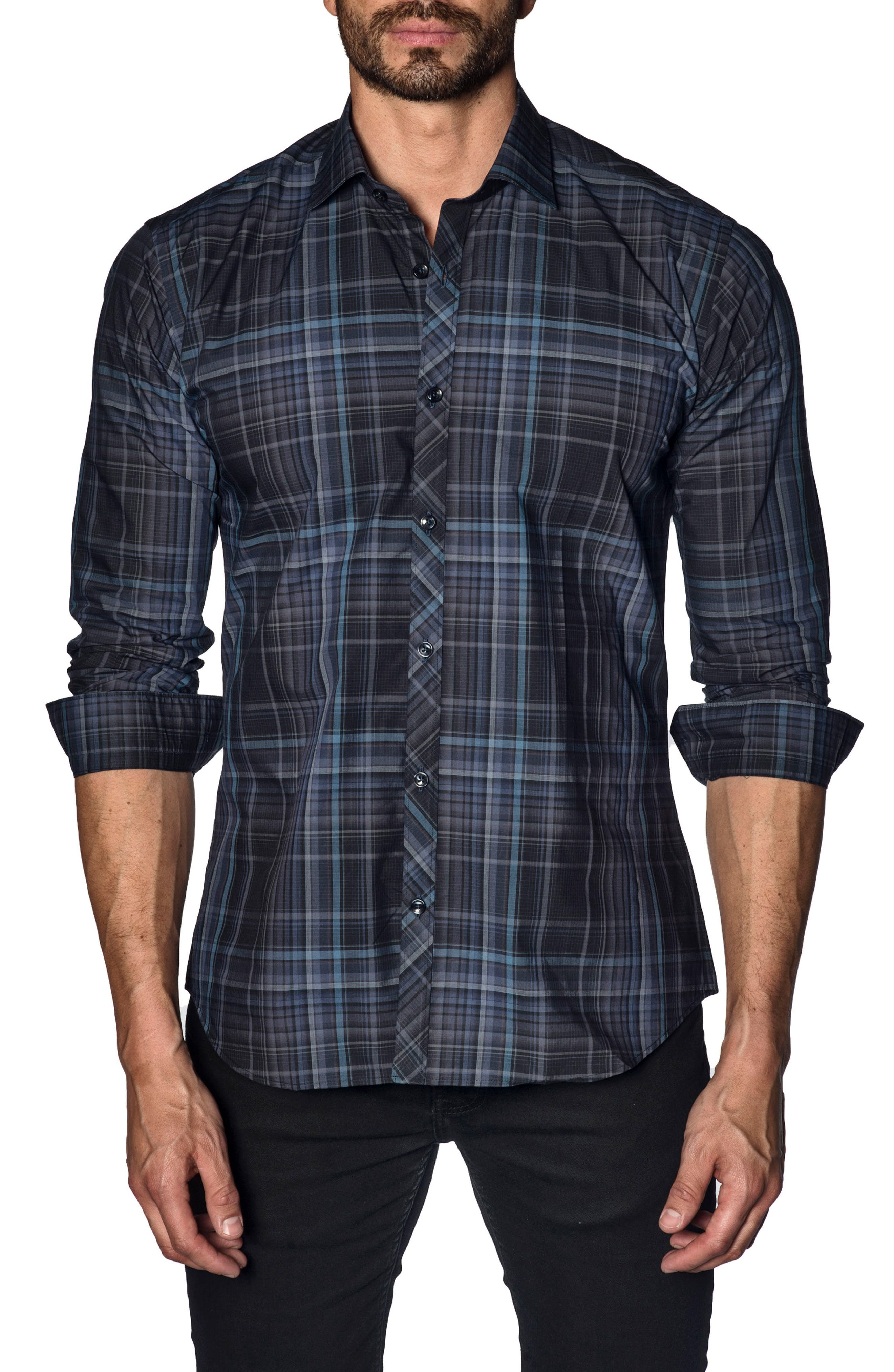 Trim Fit Sport Shirt,                             Main thumbnail 1, color,                             Navy Blue Check