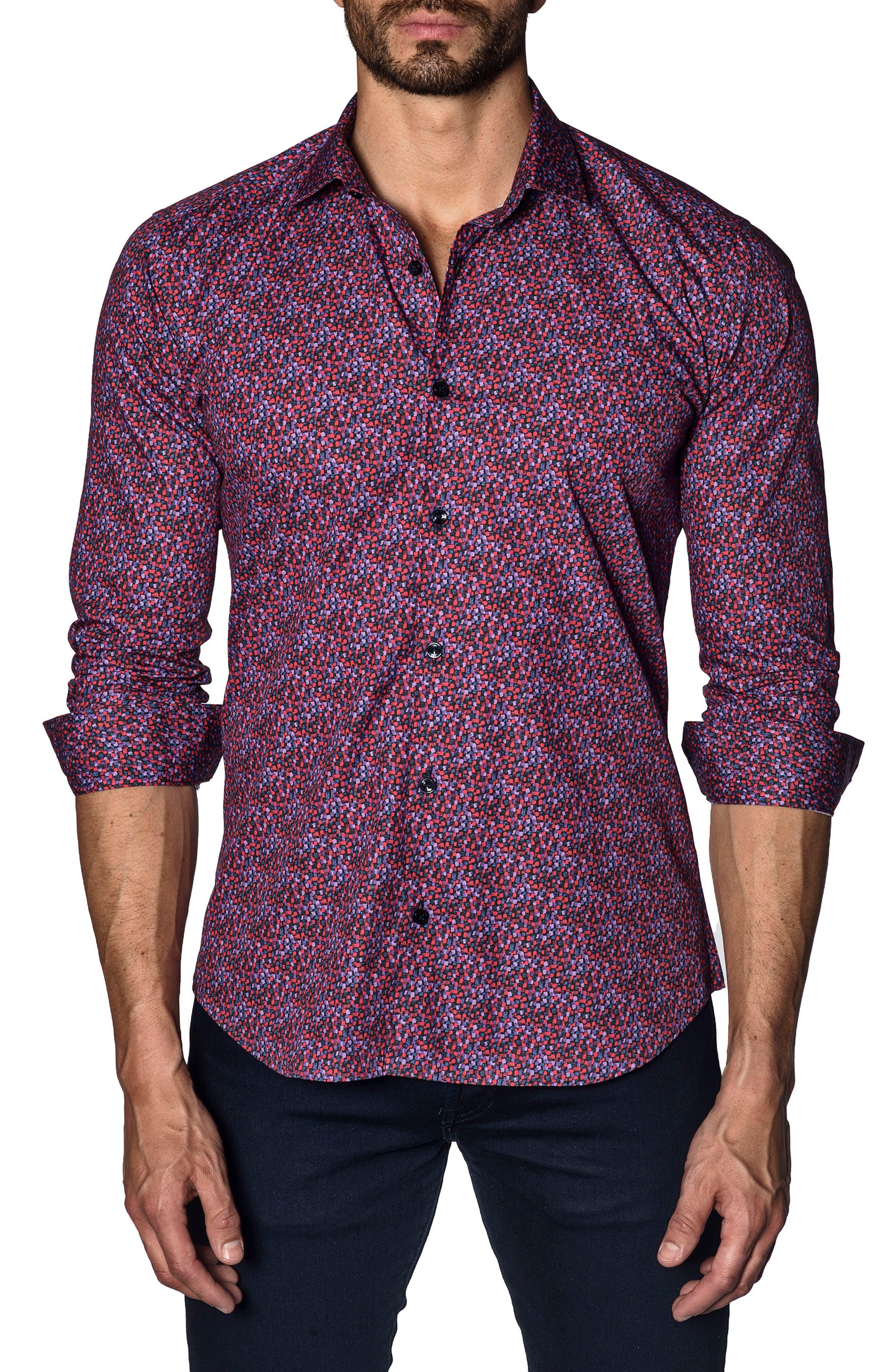 Trim Fit Sport Shirt,                             Main thumbnail 1, color,                             Red Purple