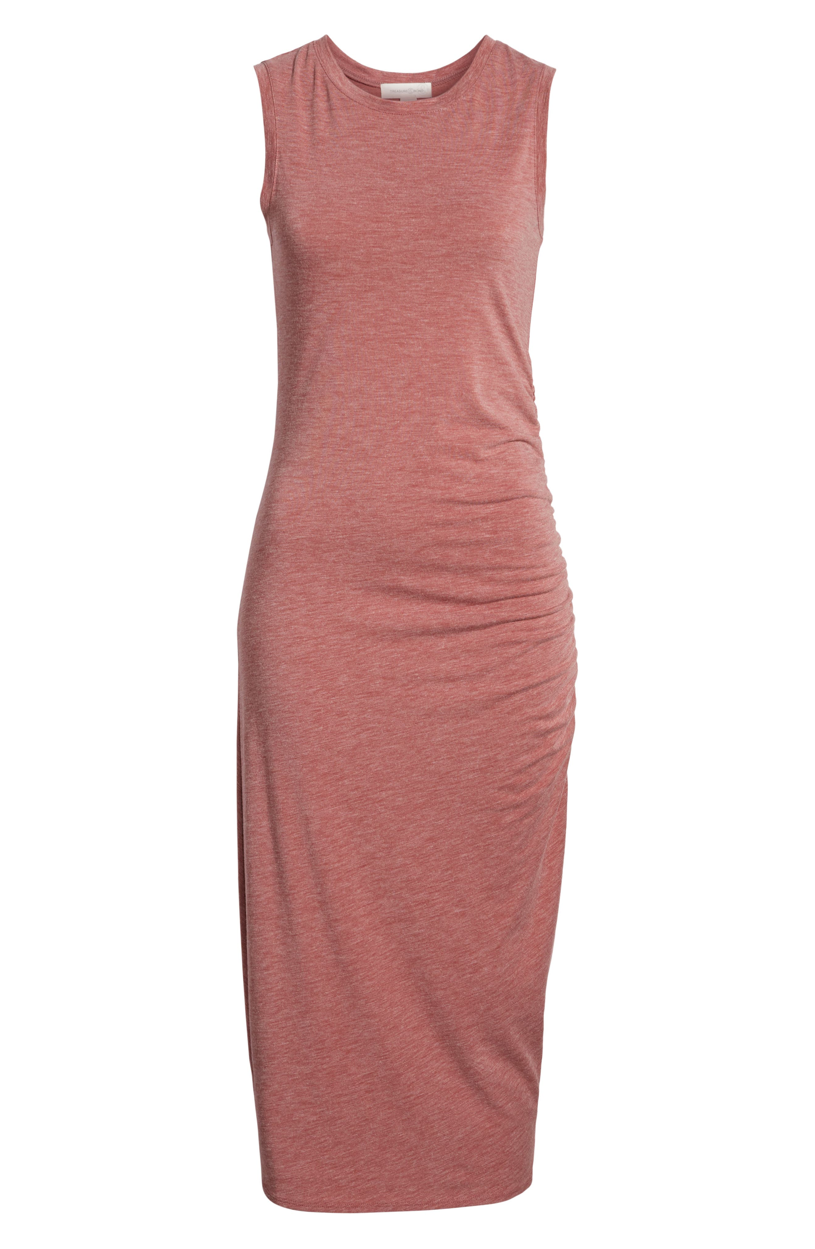 Sleeveless Side Ruched Dress,                             Alternate thumbnail 7, color,                             Burgundy Rouge Heather