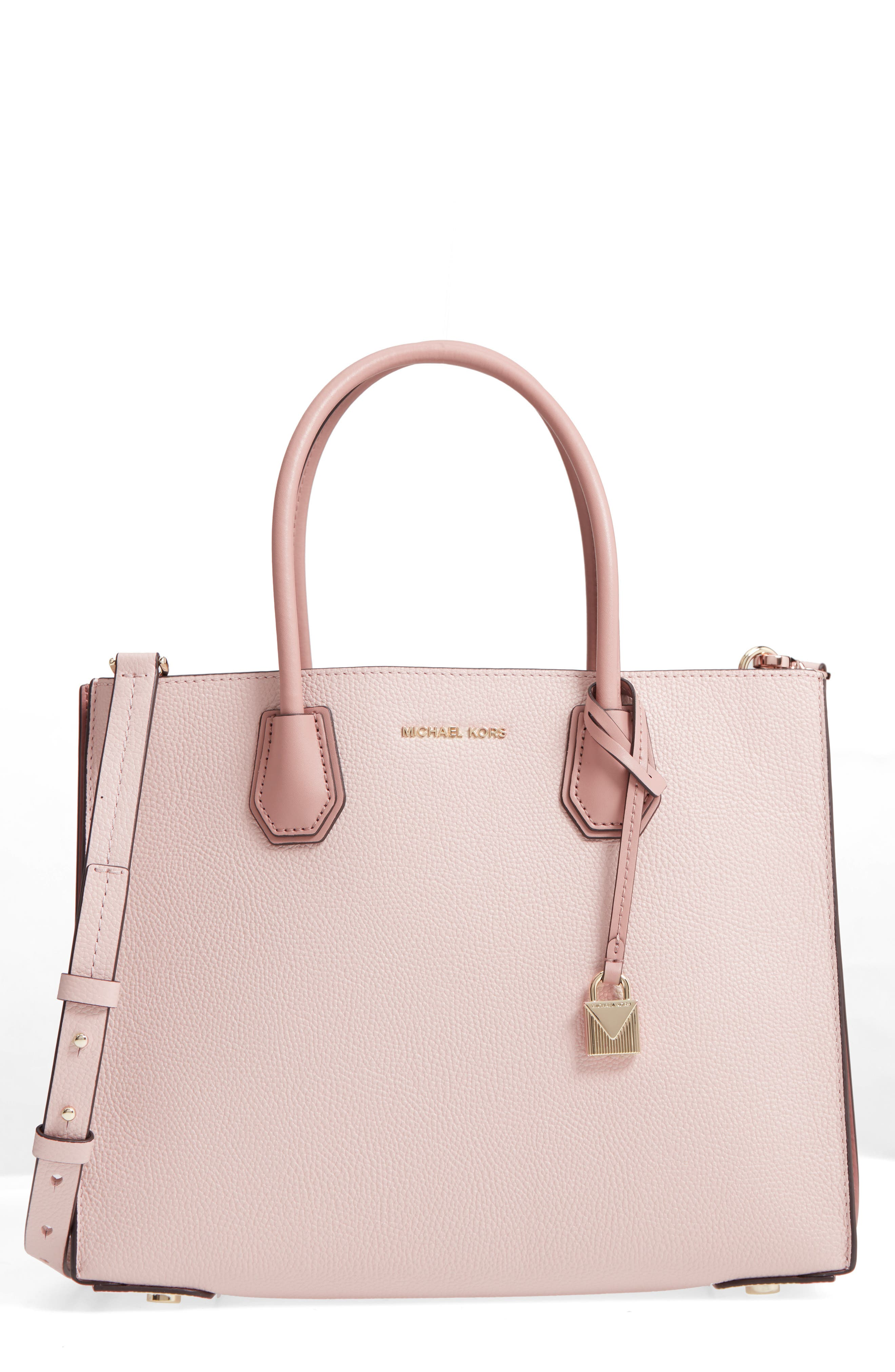 Large Mercer Leather Tote,                         Main,                         color, Soft Pink