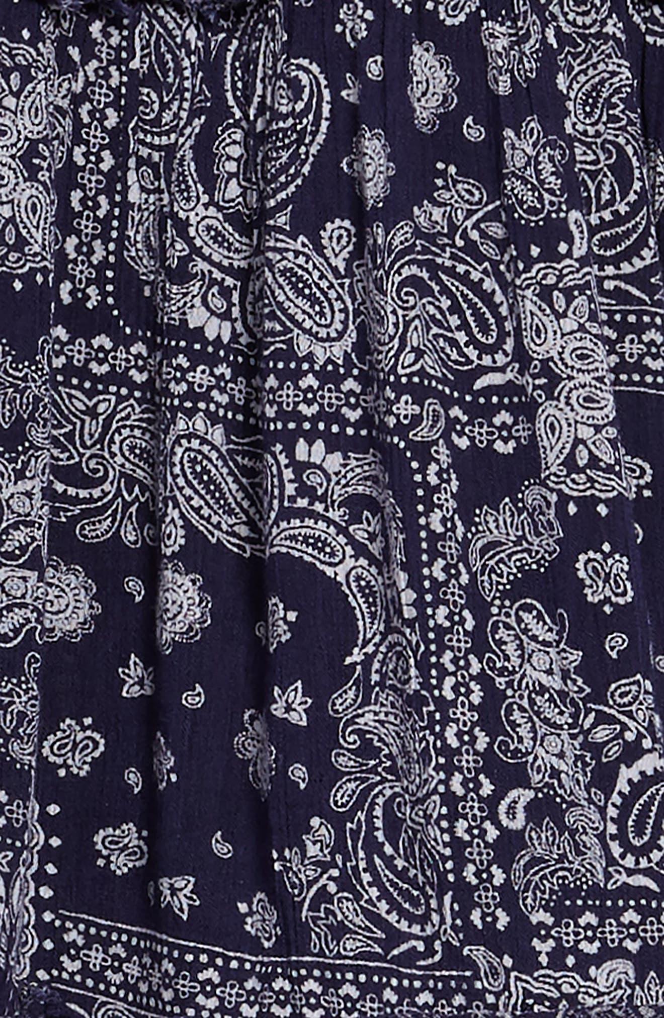 Gauzy TIered Dress,                             Alternate thumbnail 3, color,                             Navy Ribbon Bandana