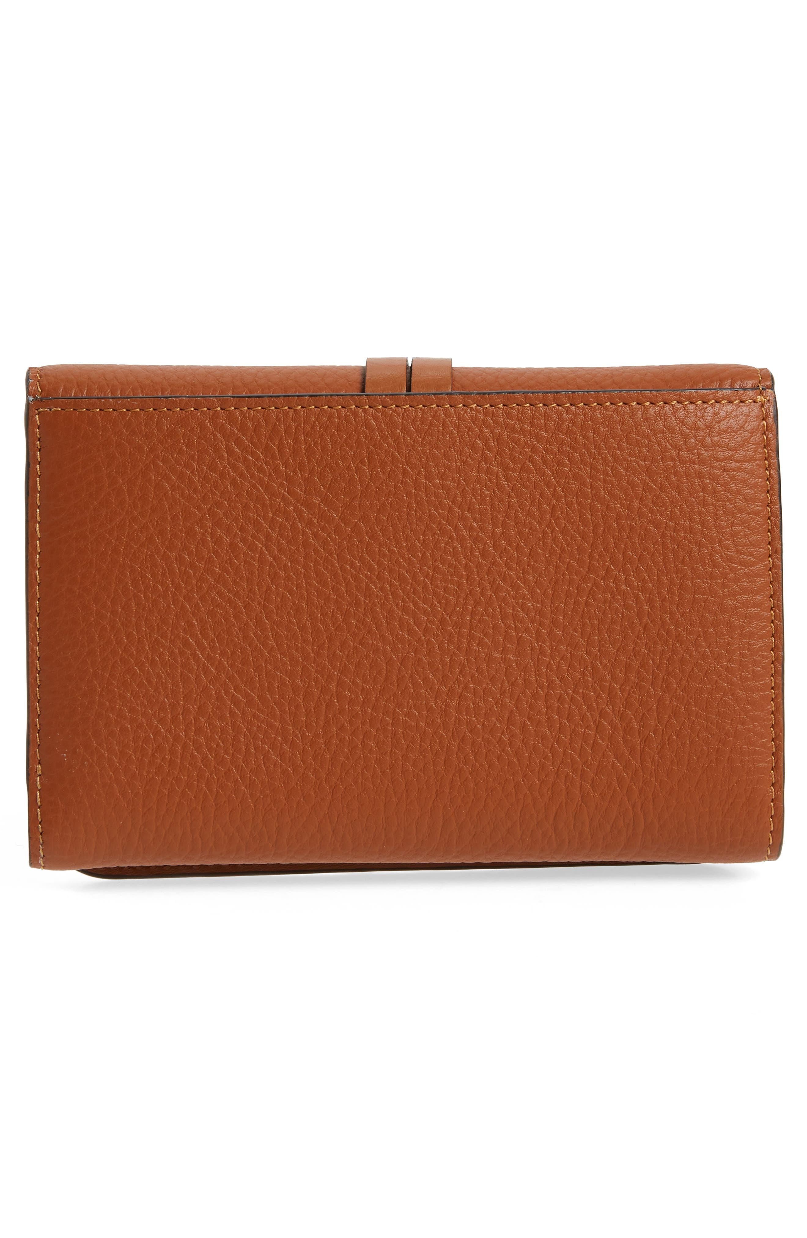Alphabet Leather Wallet,                             Alternate thumbnail 4, color,                             Tan