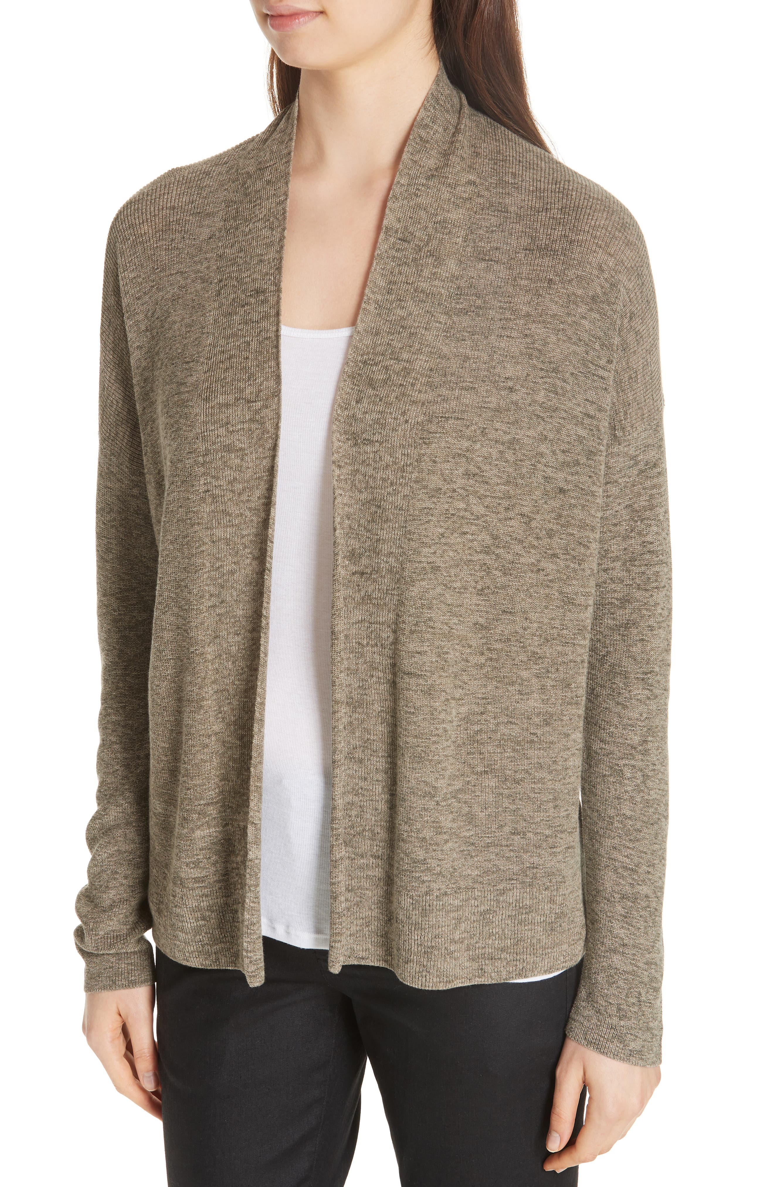 Simple Organic Cotton Cardigan,                             Alternate thumbnail 4, color,                             Olive