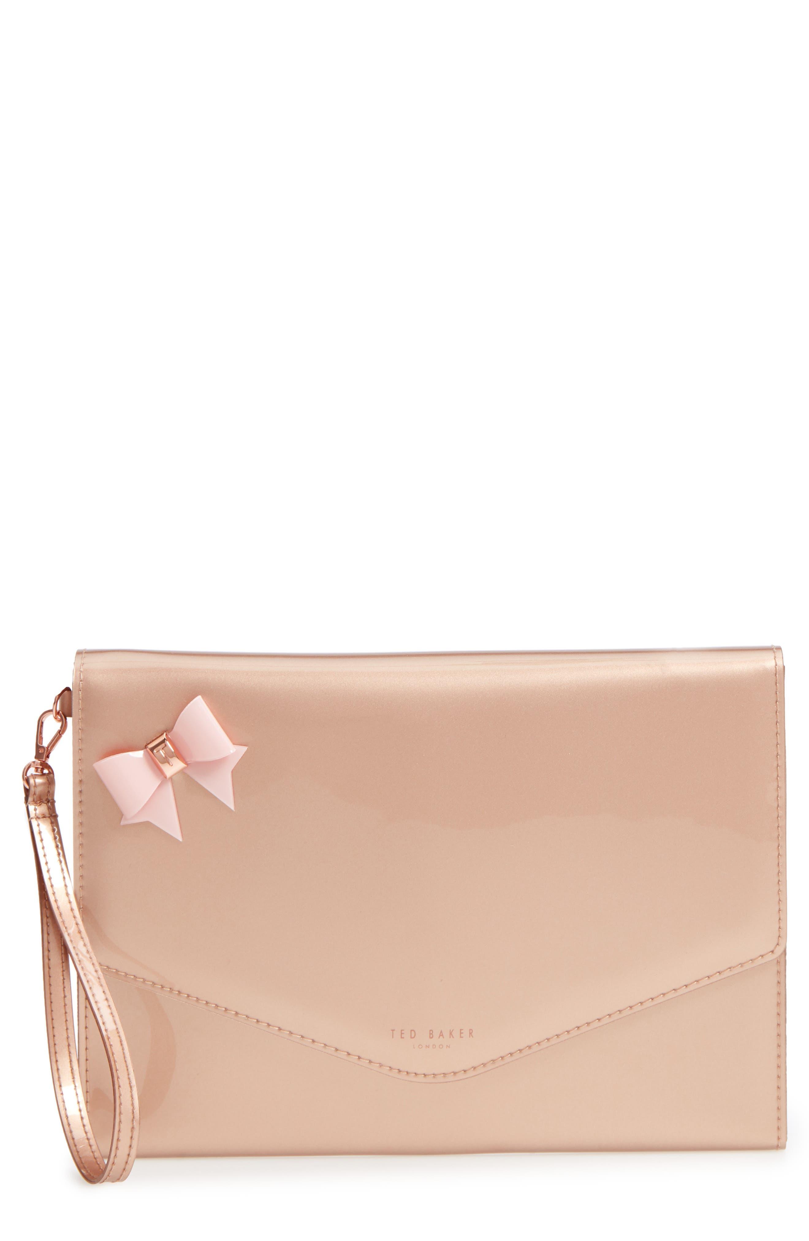 Bow Envelope Clutch,                         Main,                         color, Rose Gold