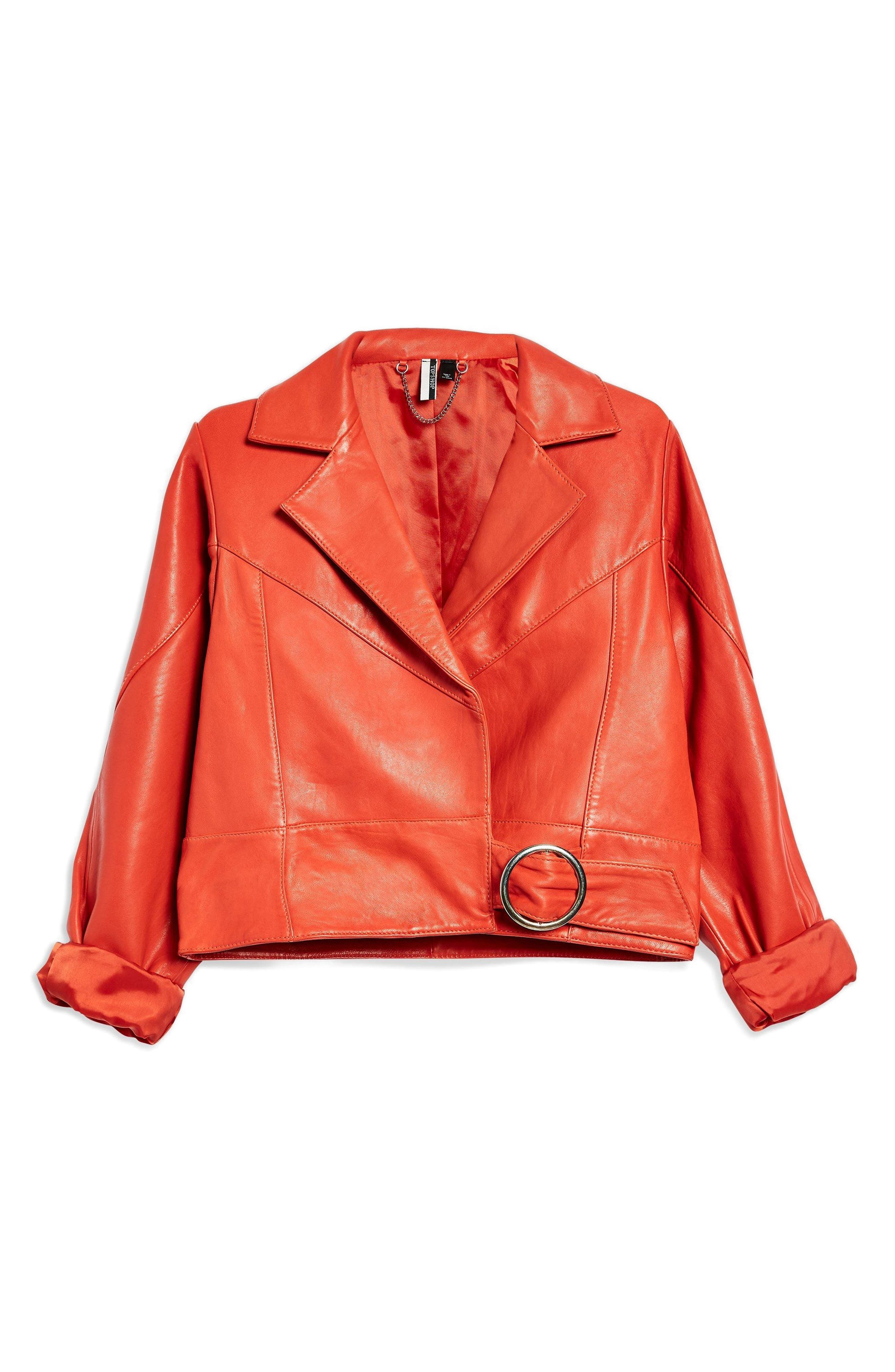 Crop Leather Moto Jacket,                         Main,                         color, Red