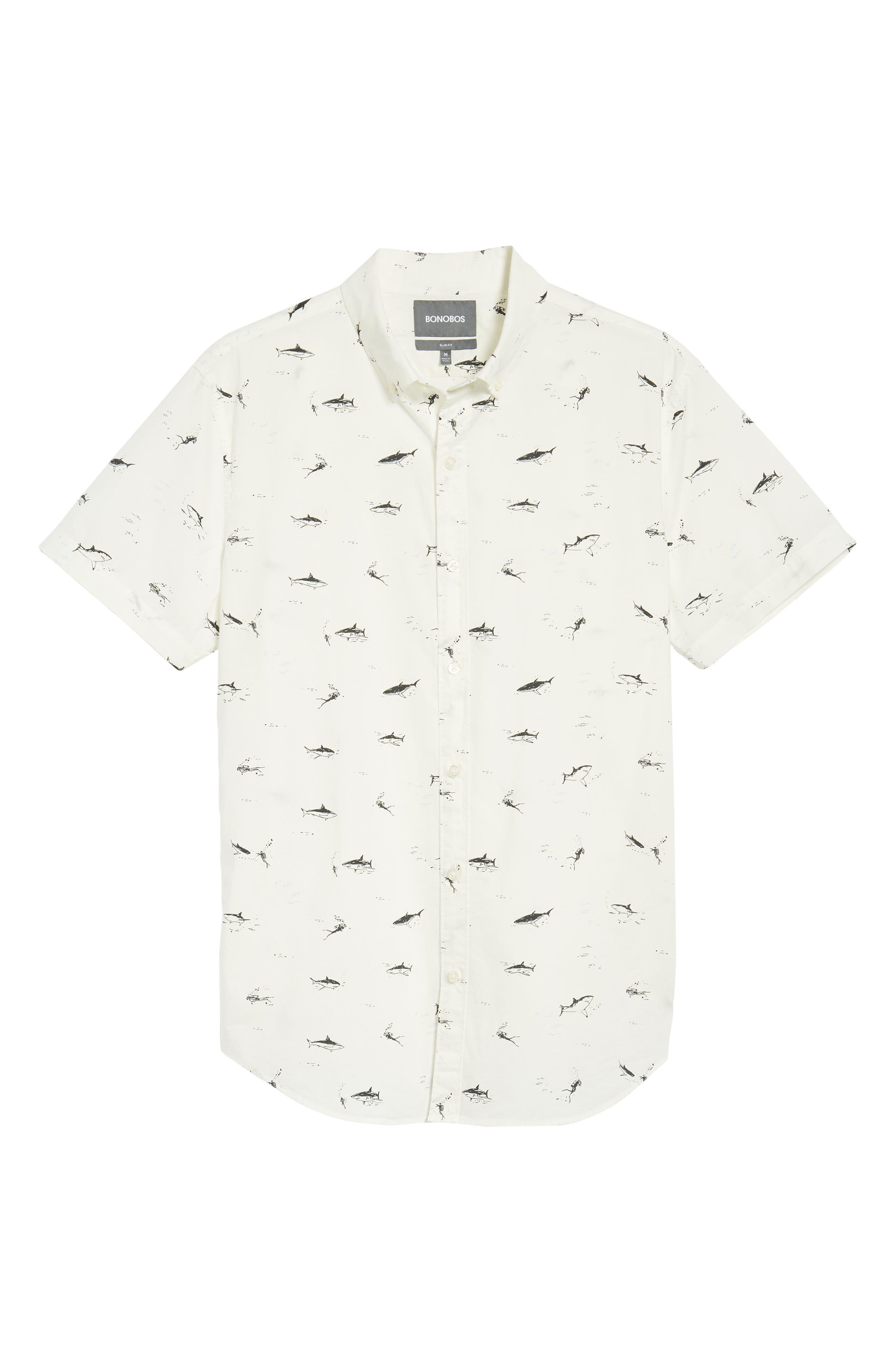 Riviera Slim Fit Shark Print Sport Shirt,                             Alternate thumbnail 6, color,                             Scuba Dive - Jet Black