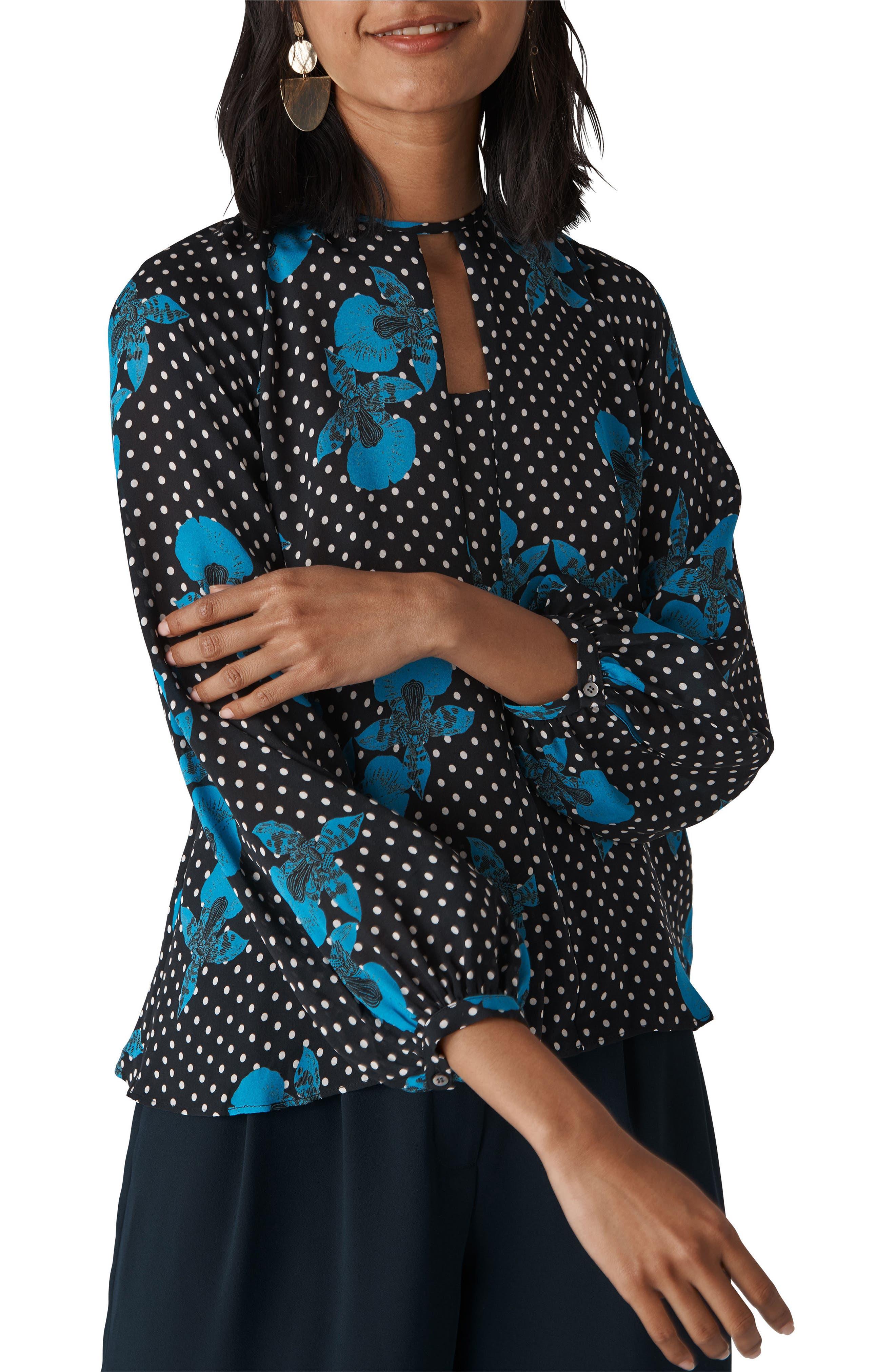 Kira Spot Floral Silk Top,                         Main,                         color, Blue/ Multi