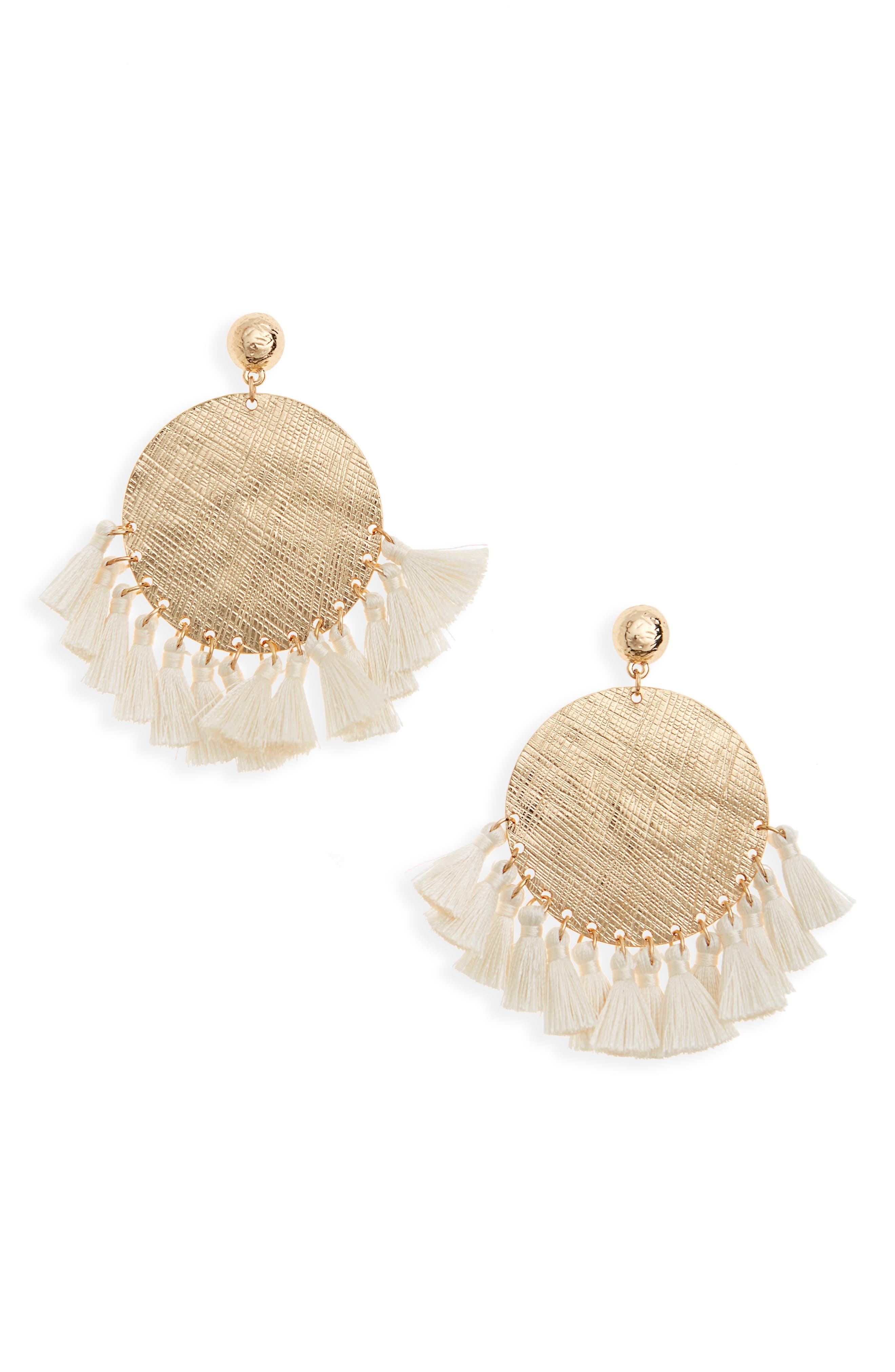 Baby Tassel Pounded Disk Earrings,                         Main,                         color, Gold/ Cream