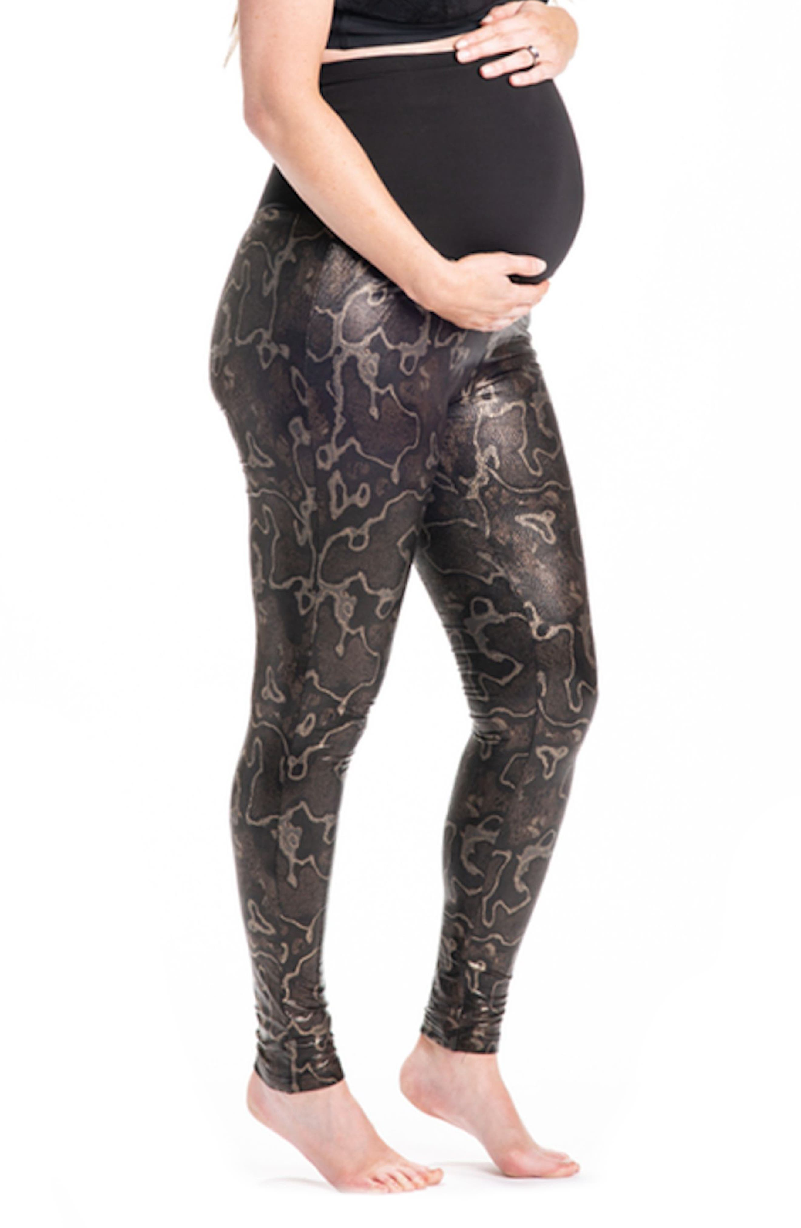 Boa Print Maternity Leggings,                             Alternate thumbnail 3, color,                             Dark Brown