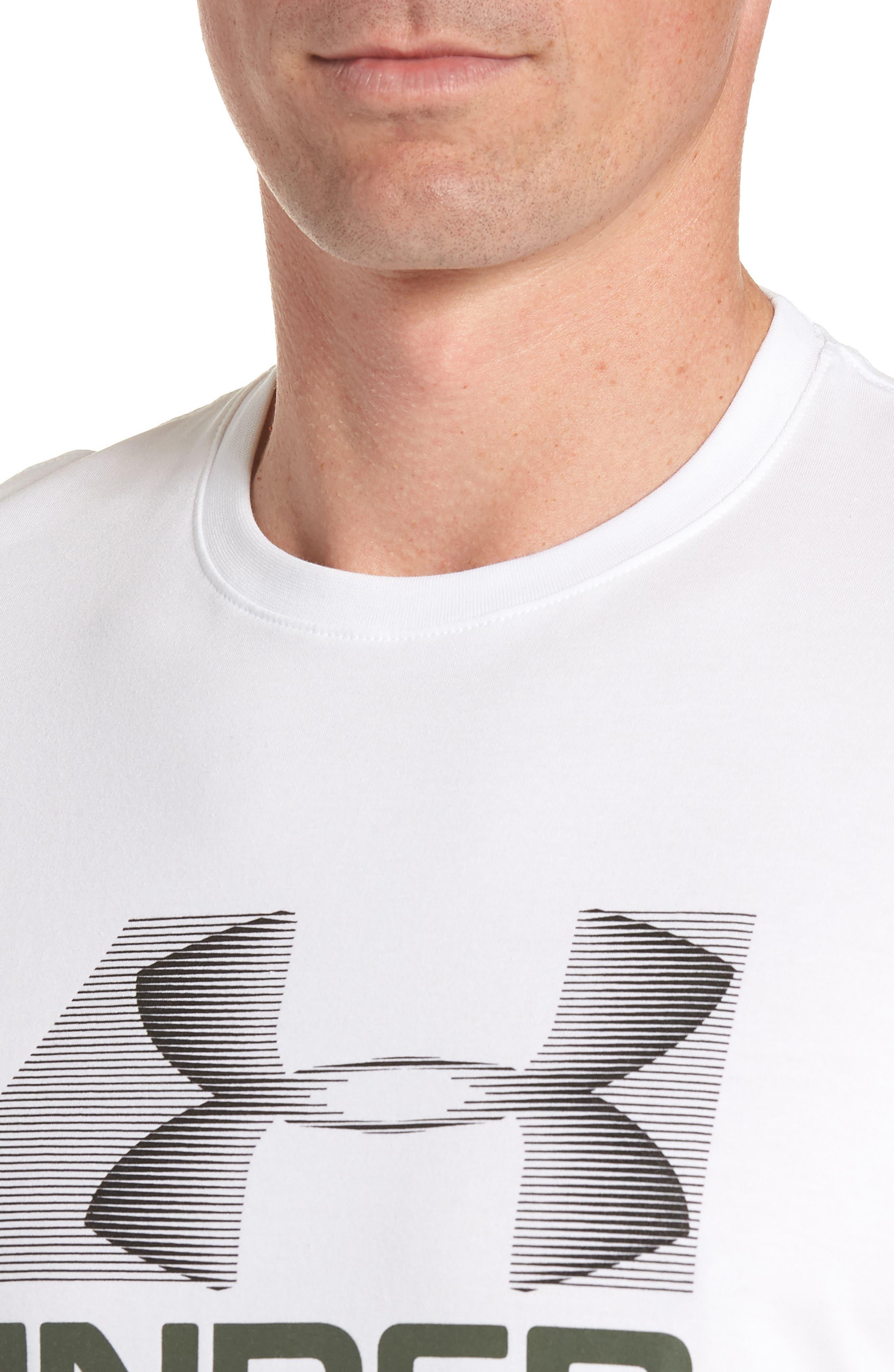 Trim Fit Vanish Logo T-Shirt,                             Alternate thumbnail 4, color,                             White/ Black/ Downtown Green