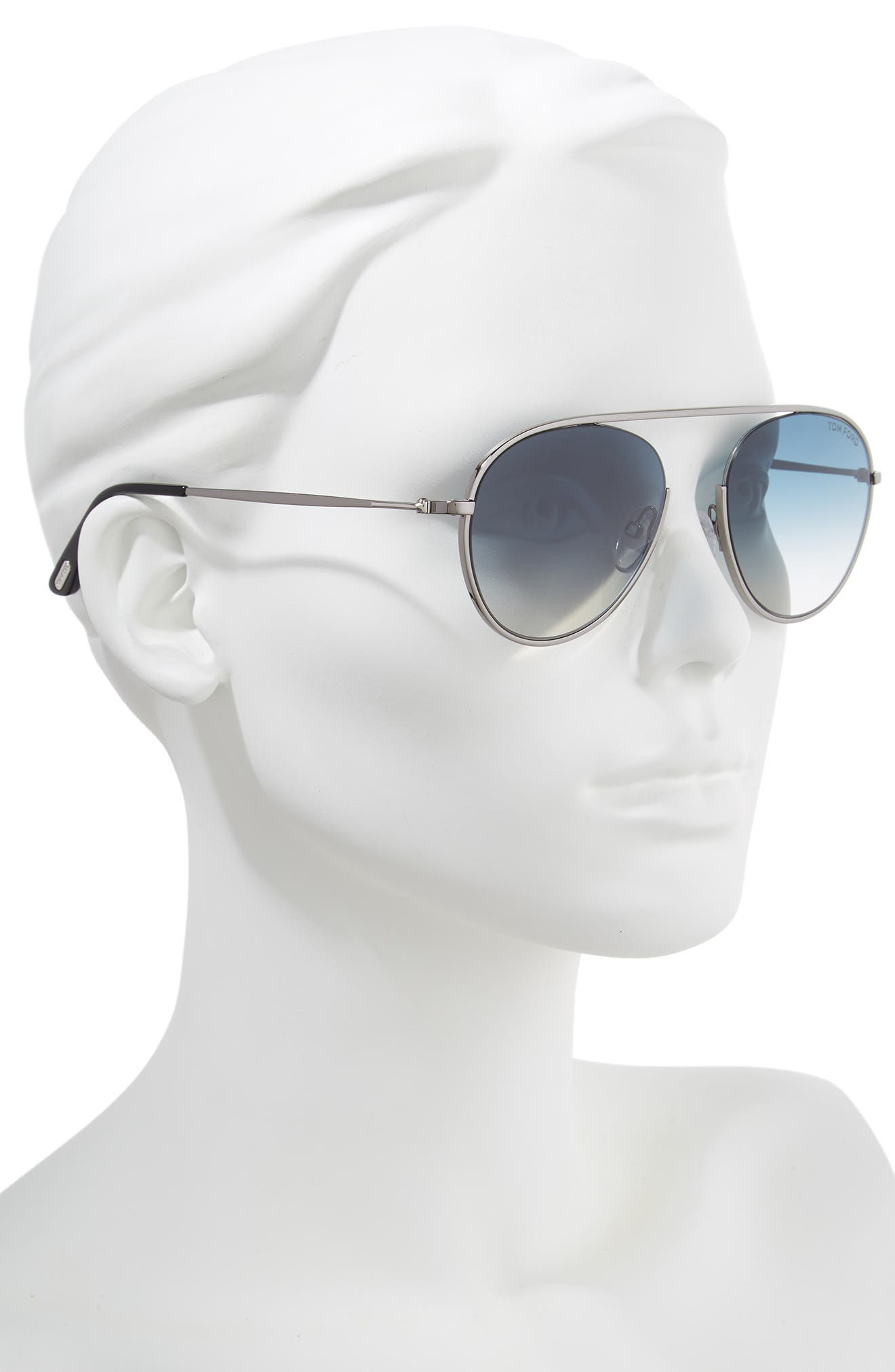 Keith 55mm Metal Aviator Sunglasses,                             Alternate thumbnail 2, color,                             Shiny Gumetal/ Gradient Blue