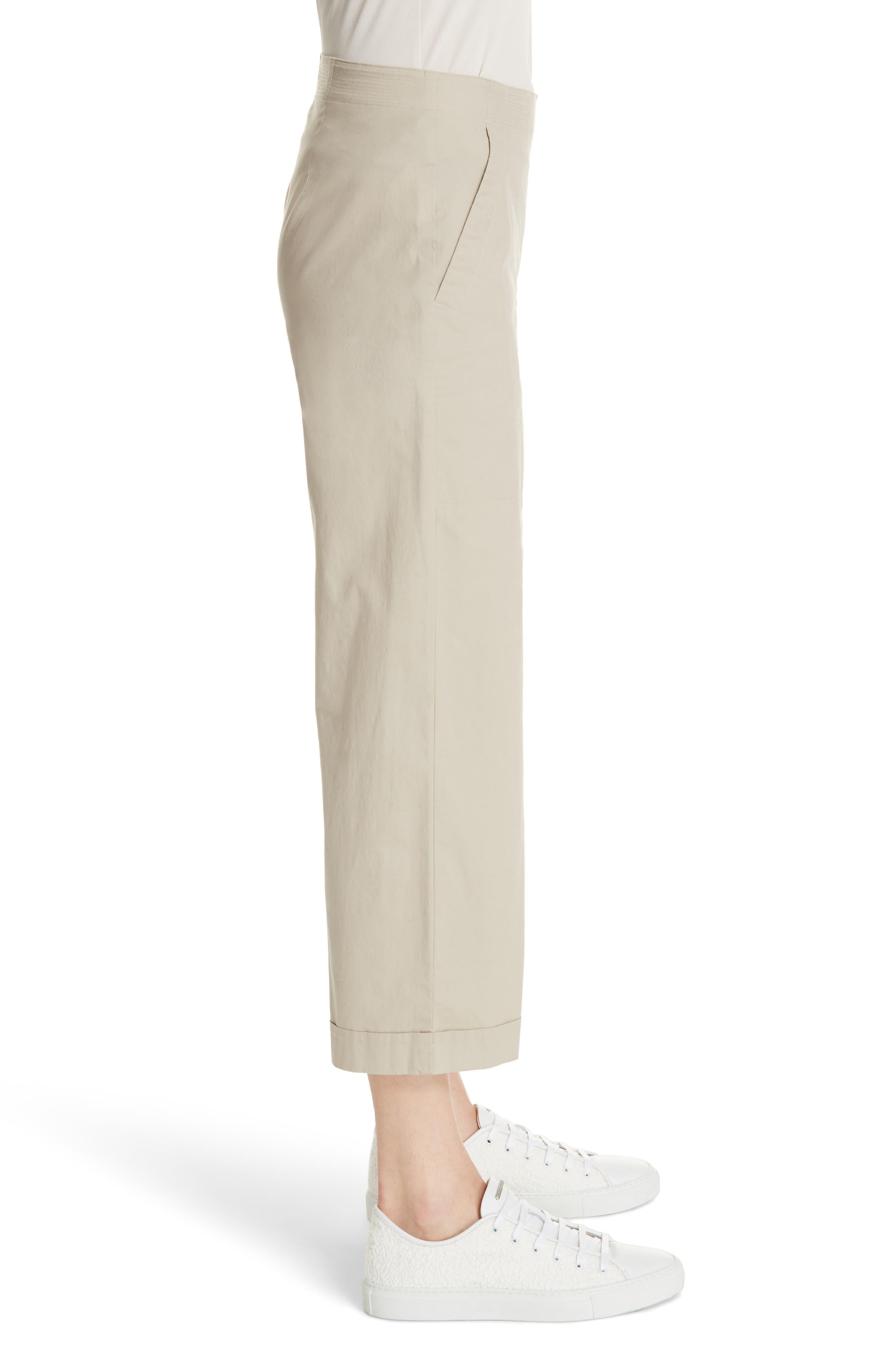 Crop Wide Leg Trouser,                             Alternate thumbnail 4, color,                             Khaki