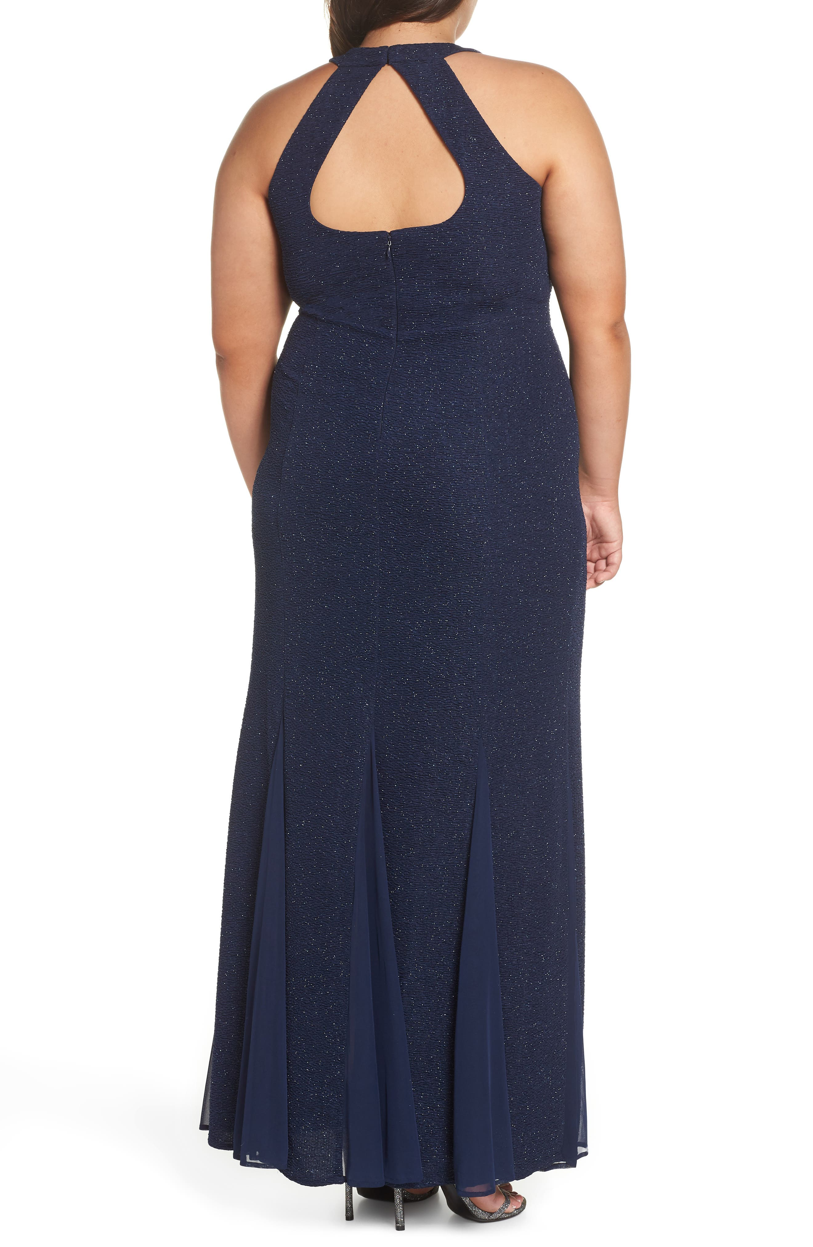 Keyhole Glitter Knit Trumpet Gown,                             Alternate thumbnail 2, color,                             Navy
