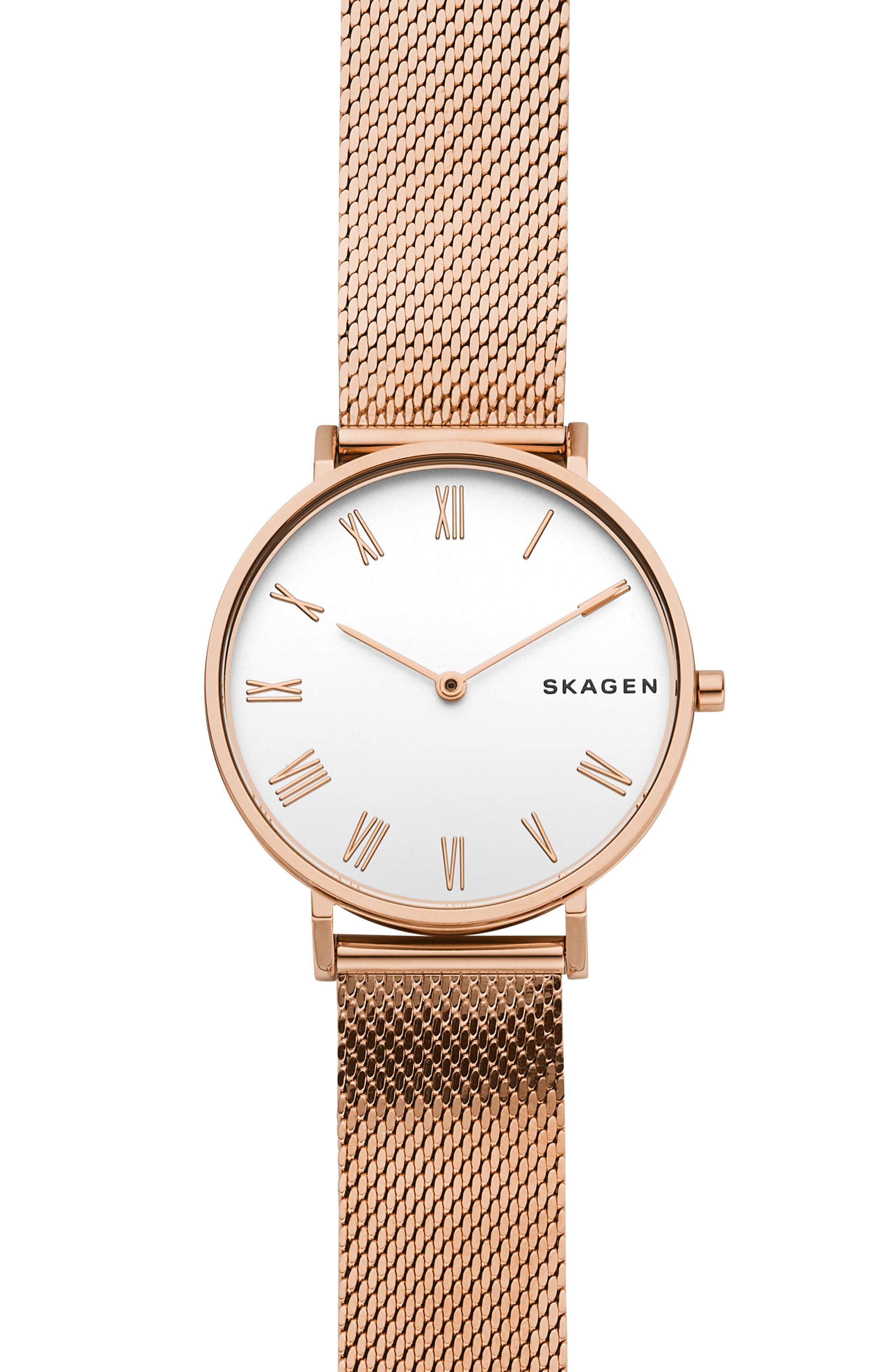 Hald Bracelet Watch, 34mm,                             Main thumbnail 1, color,                             Rose Gold/ Silver/ Rose Gold