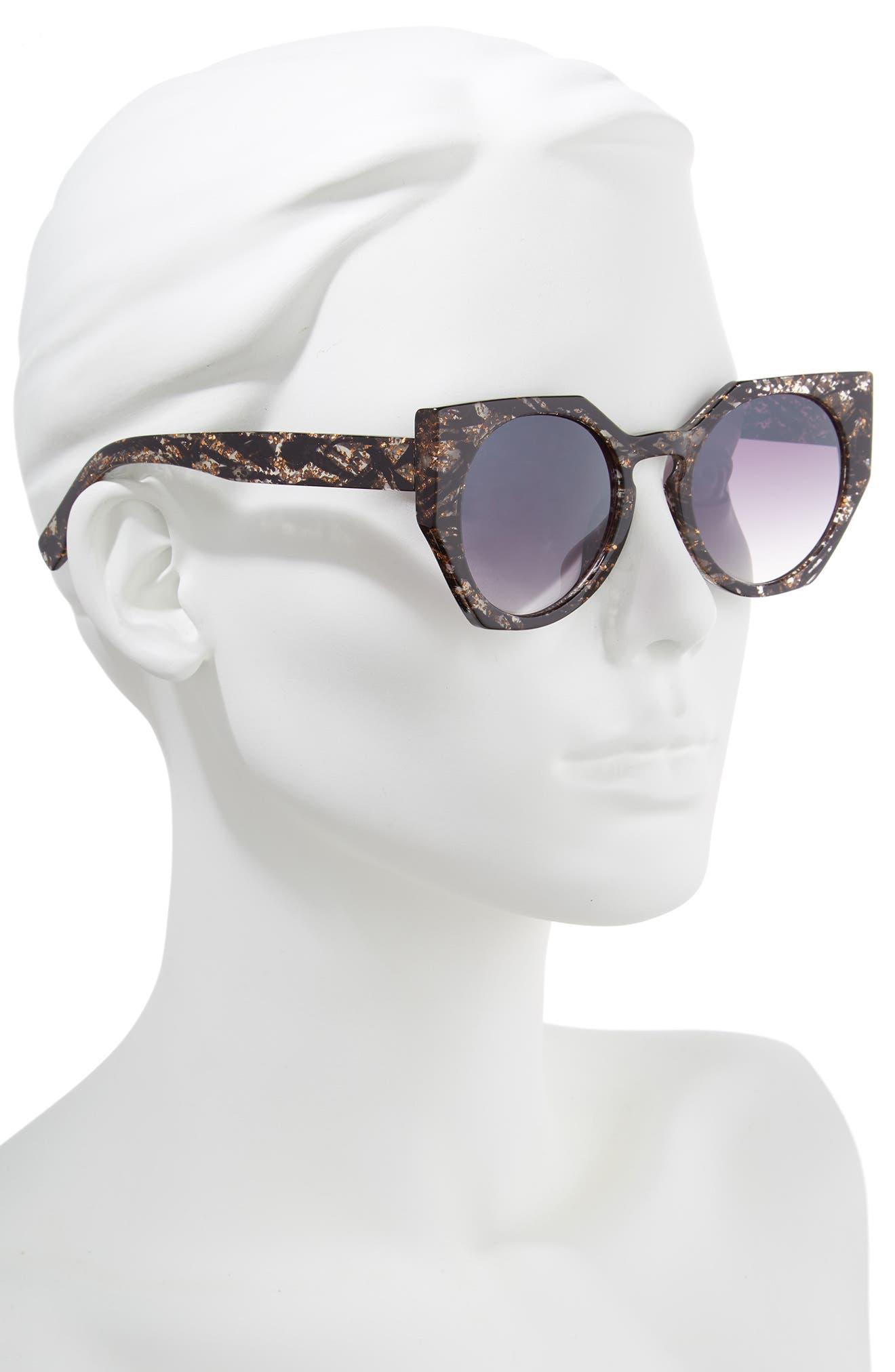 50mm Geometric Sunglasses,                             Alternate thumbnail 2, color,                             Black/ Gold