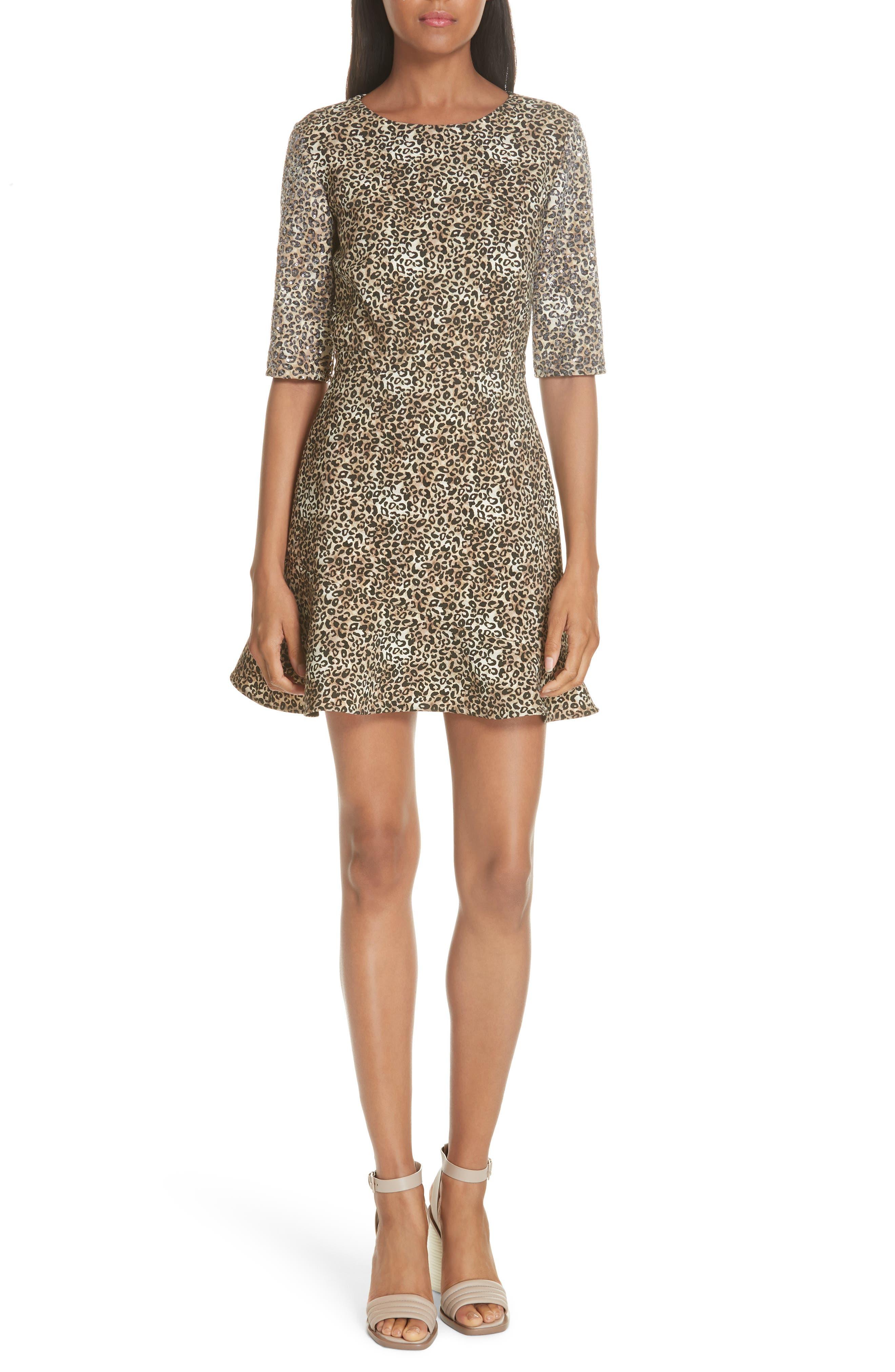 Celia Floral Print Dress,                         Main,                         color, True Leopard