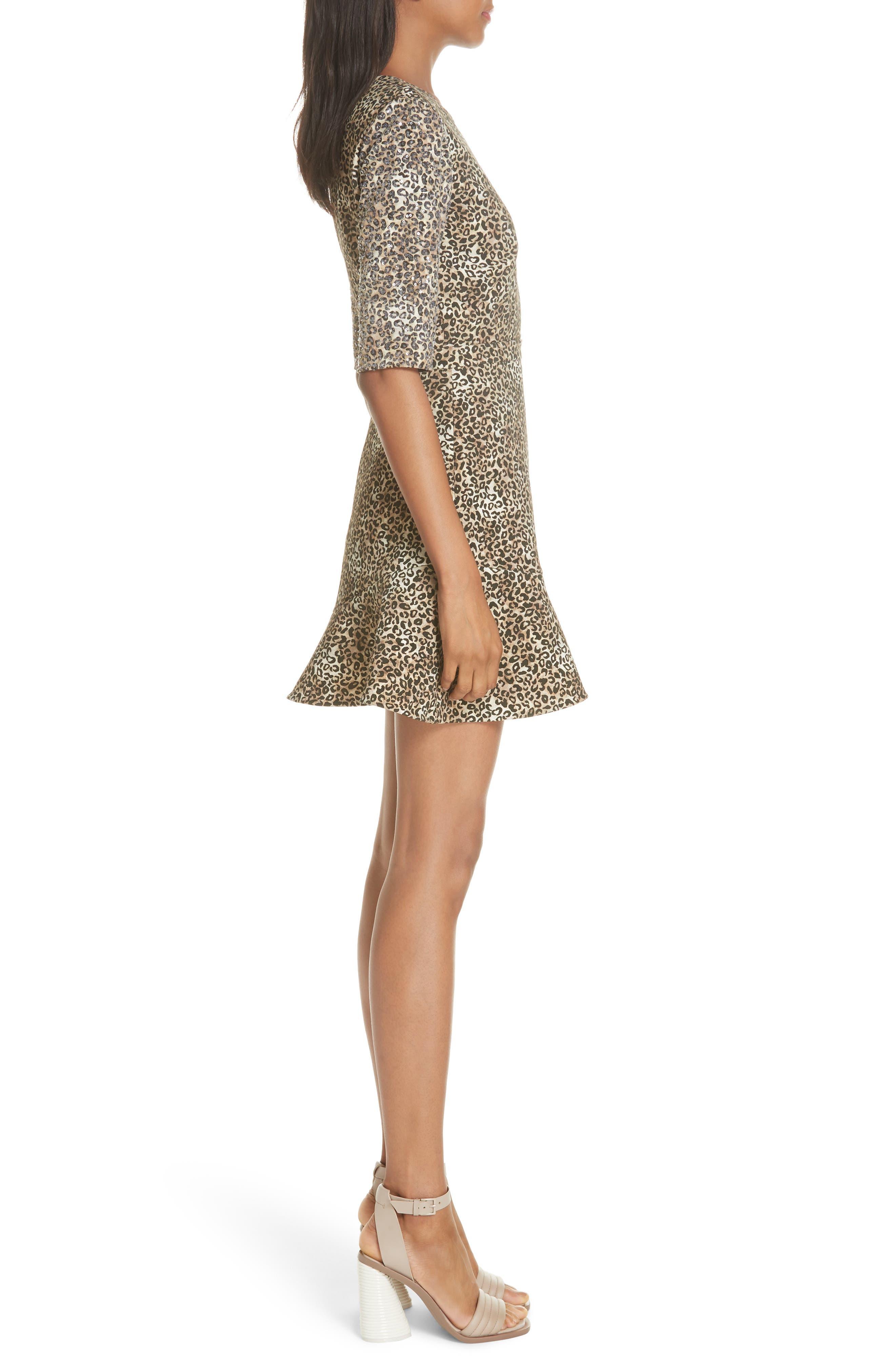 Celia Floral Print Dress,                             Alternate thumbnail 3, color,                             True Leopard