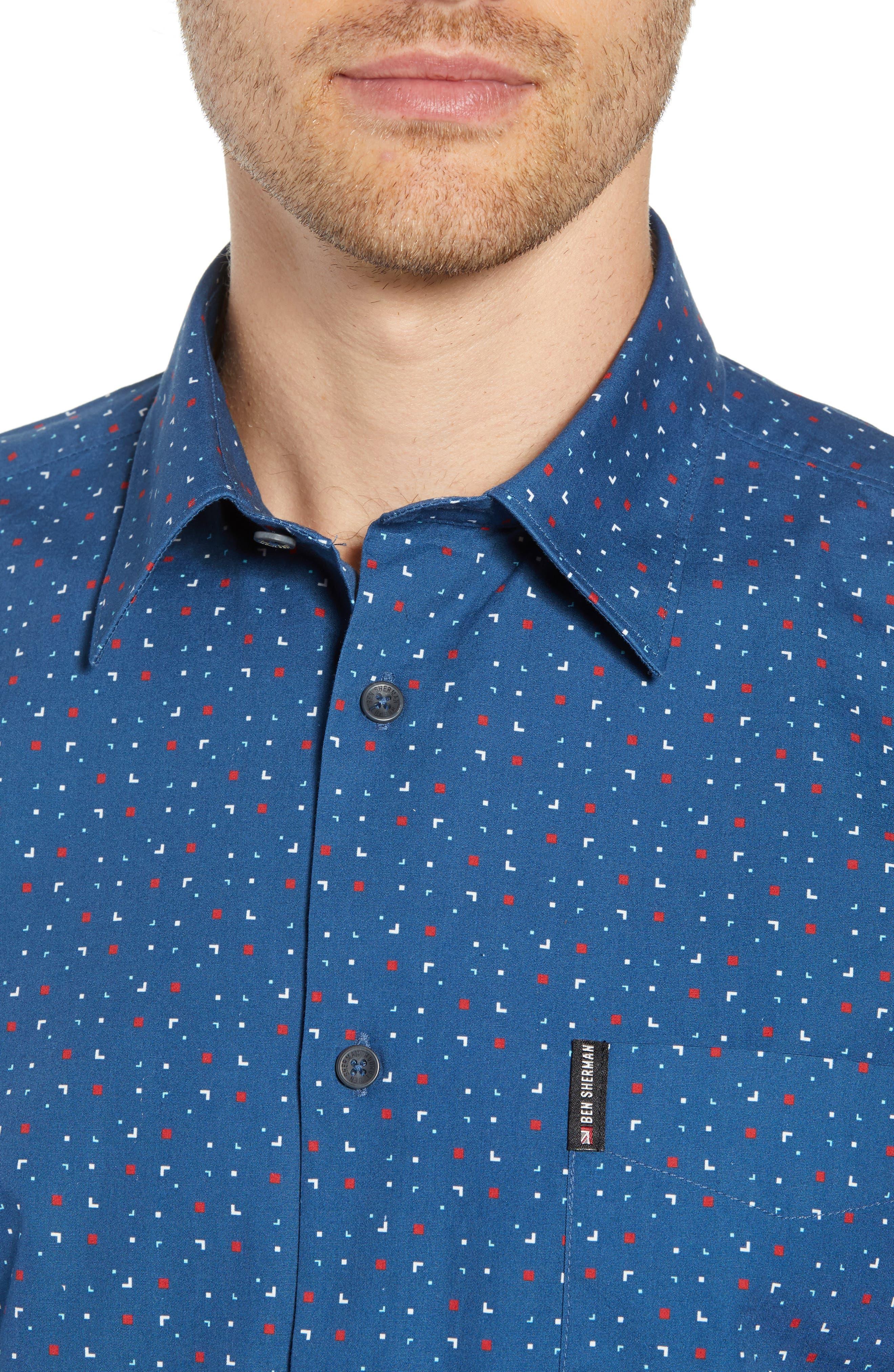 Scattered Geo Woven Shirt,                             Alternate thumbnail 2, color,                             Blue