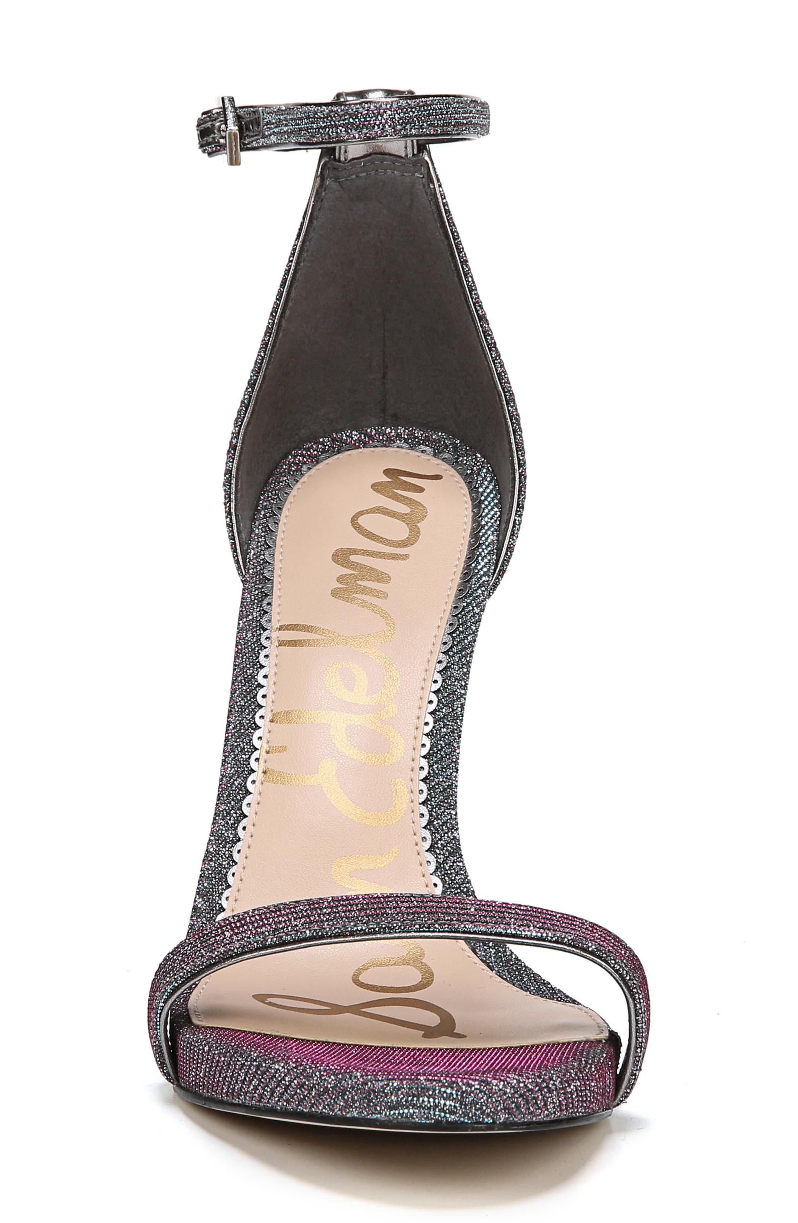 Ariella Ankle Strap Sandal,                             Alternate thumbnail 4, color,                             Pink/ Blue Multi Fabric