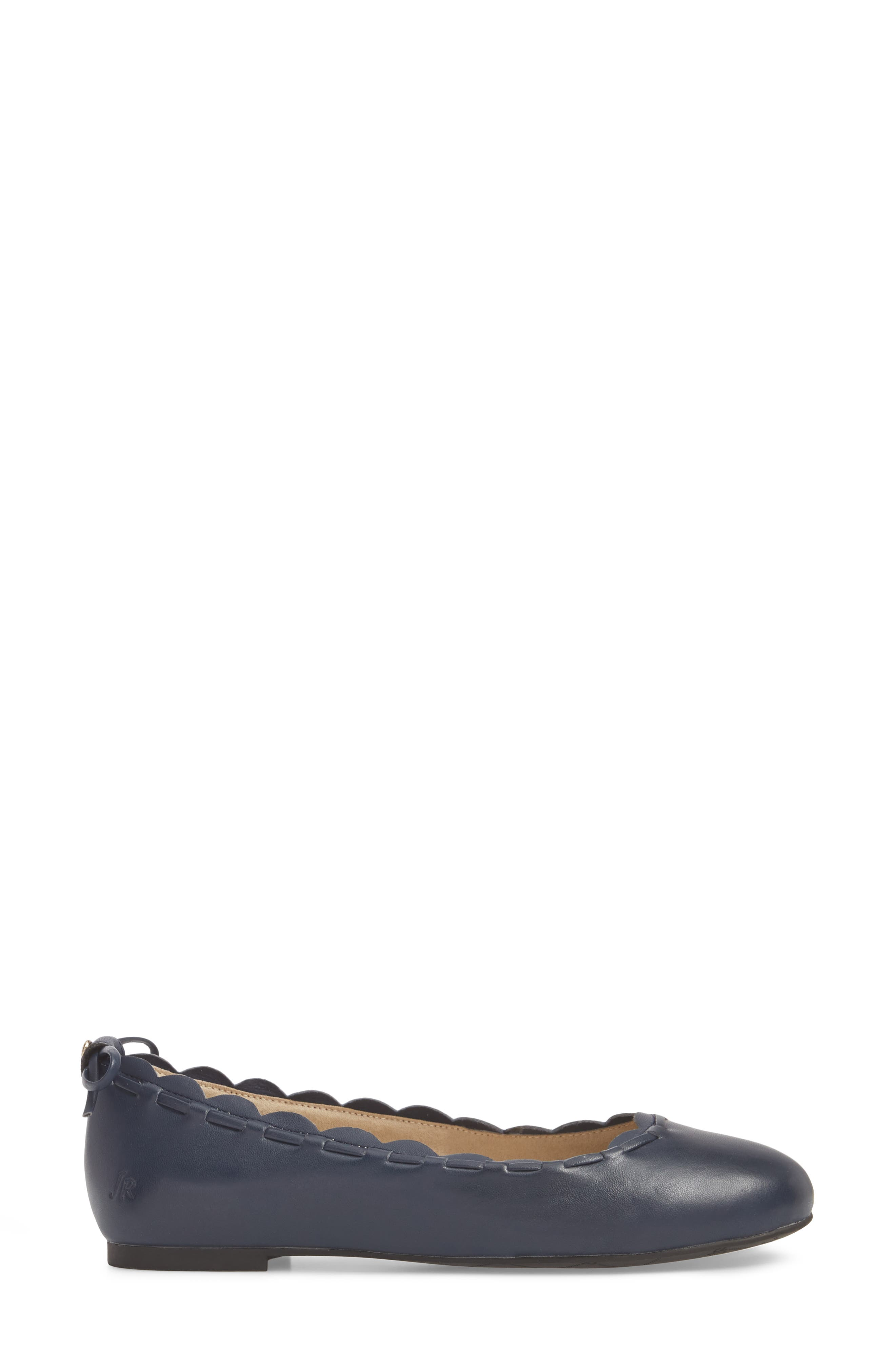 Lucie II Scalloped Flat,                             Alternate thumbnail 6, color,                             Midnight Blue Leather