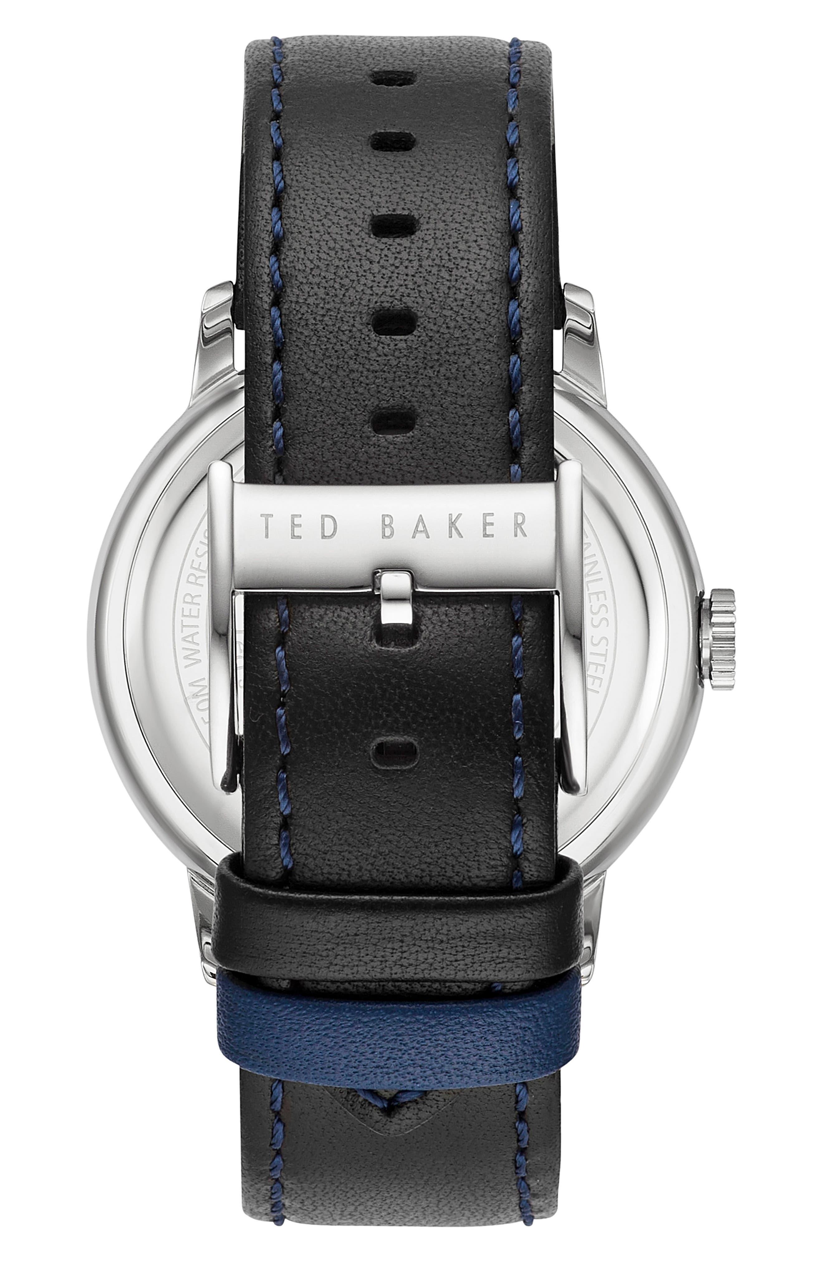 Daniel Leather Strap Watch, 42mm,                             Alternate thumbnail 2, color,                             White/ Black